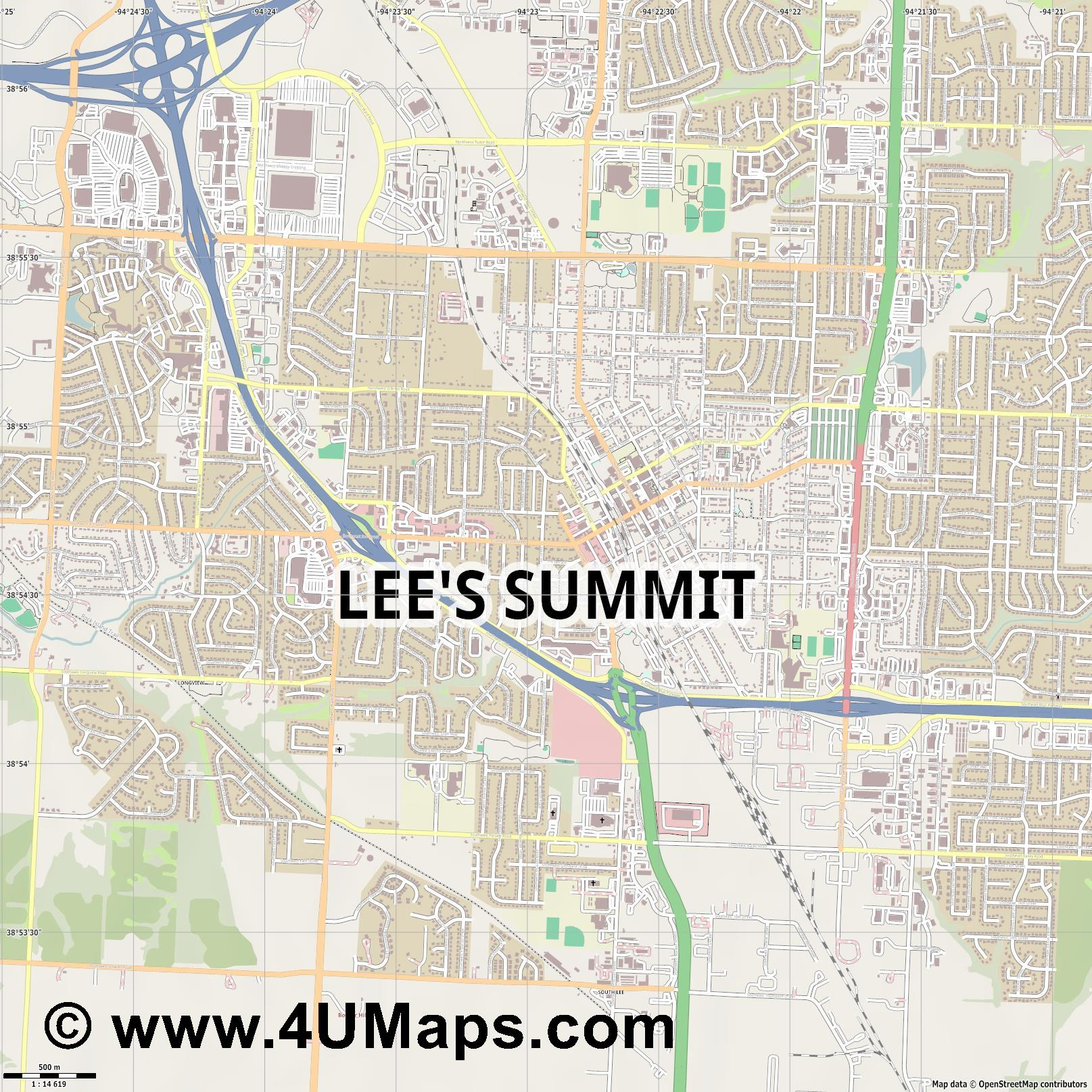 Lee s Summit  jpg ultra high detail preview vector city map