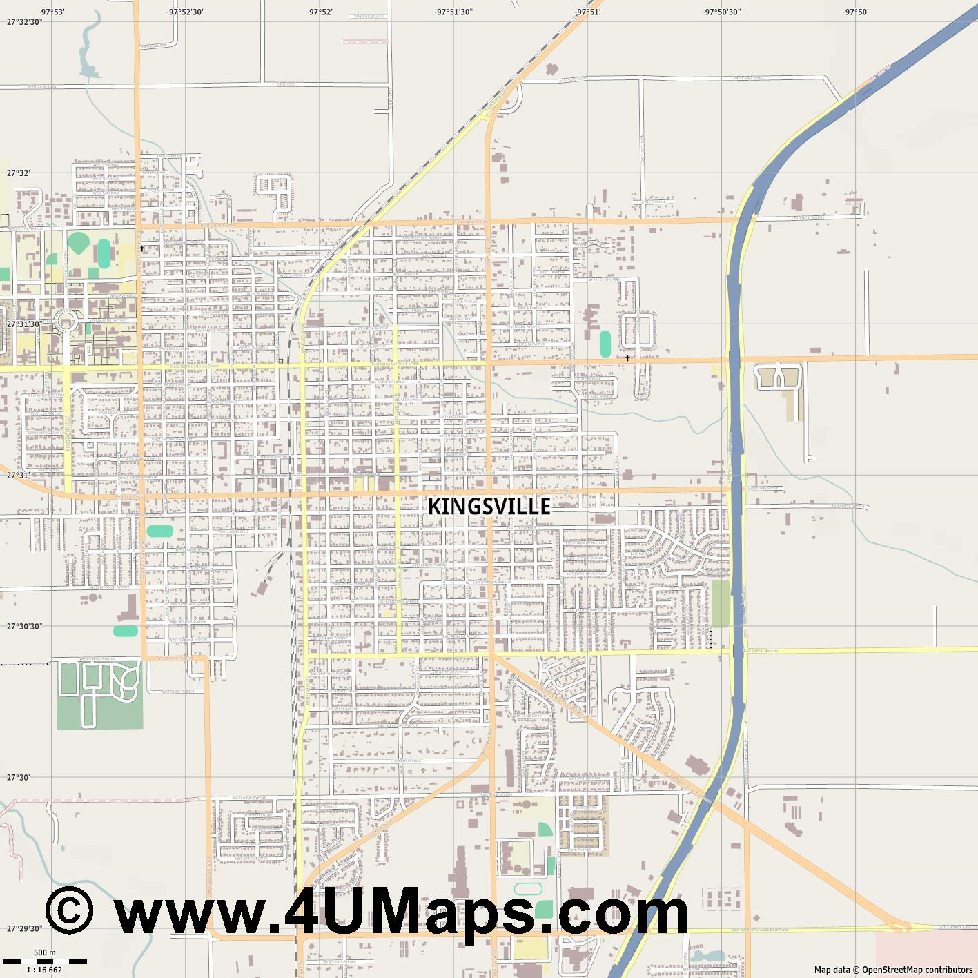 Kingsville  jpg ultra high detail preview vector city map