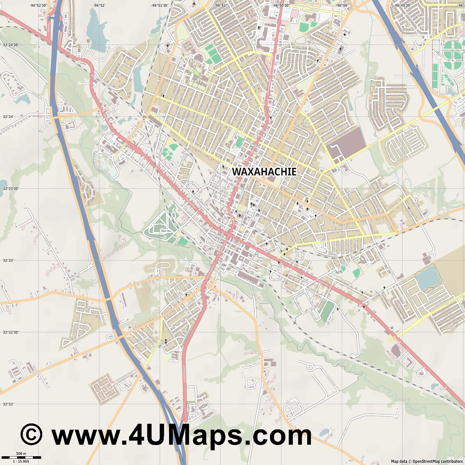 Waxahachie  jpg ultra high detail preview vector city map