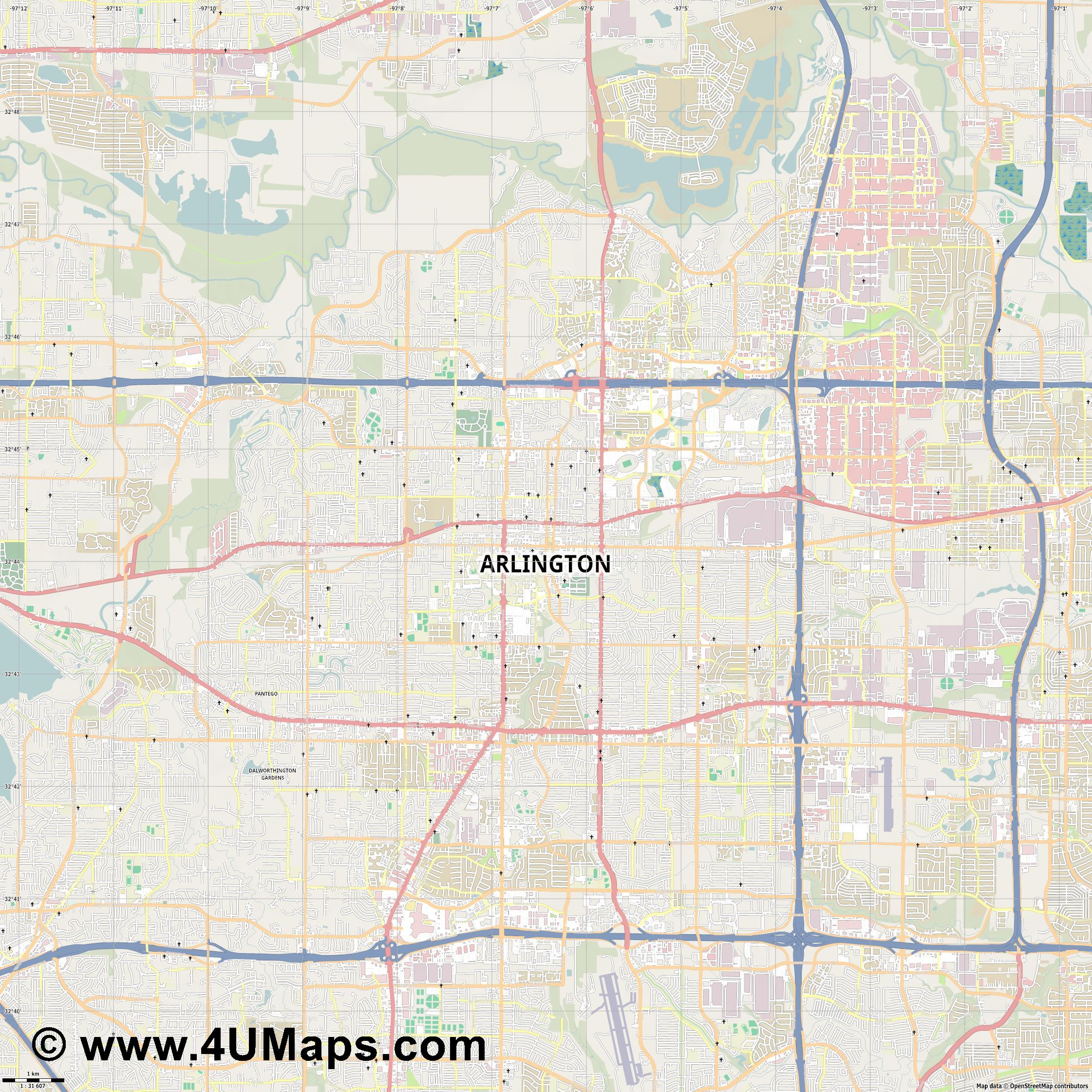 Arlington  jpg high detail, large area preview vector city map