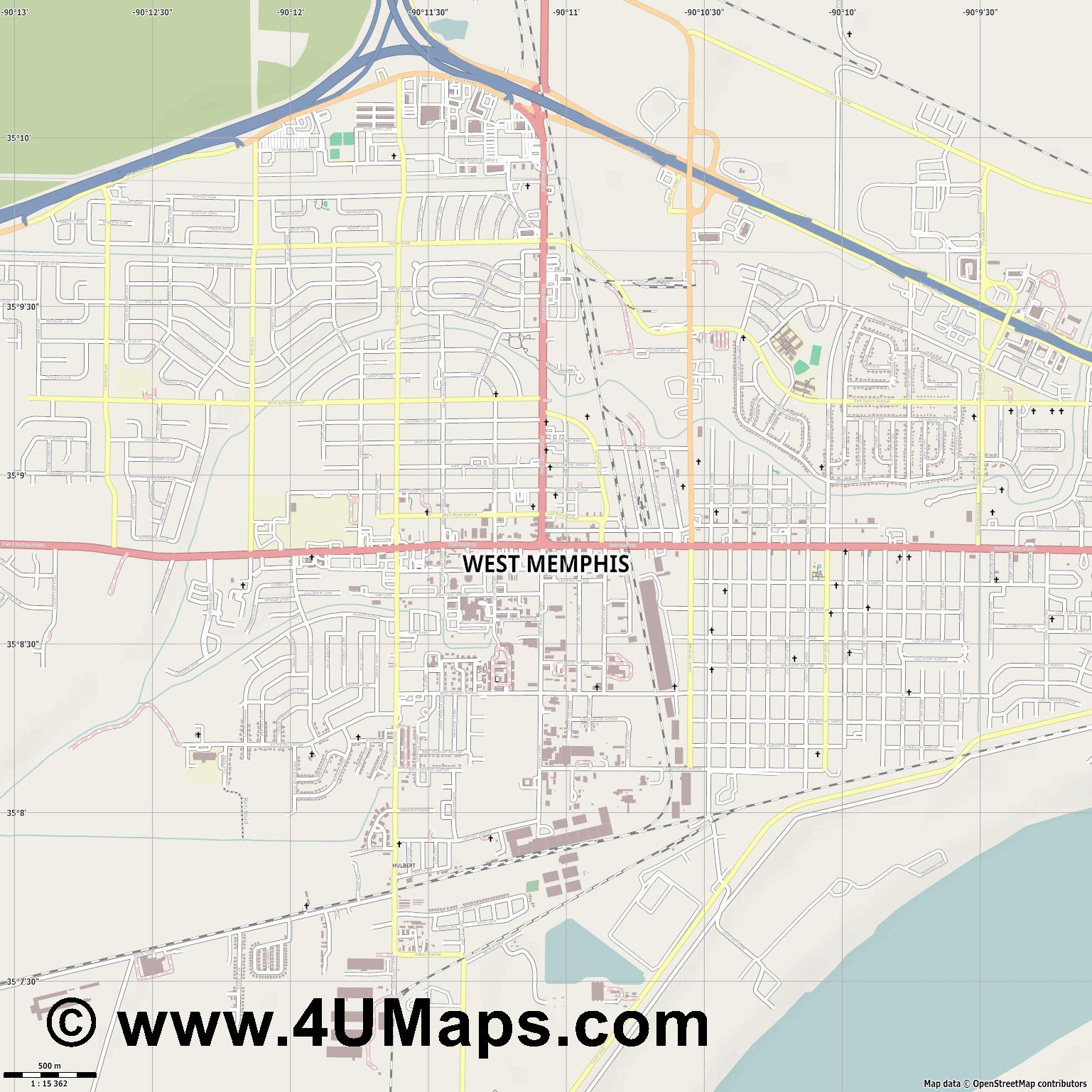 West Memphis  jpg ultra high detail preview vector city map