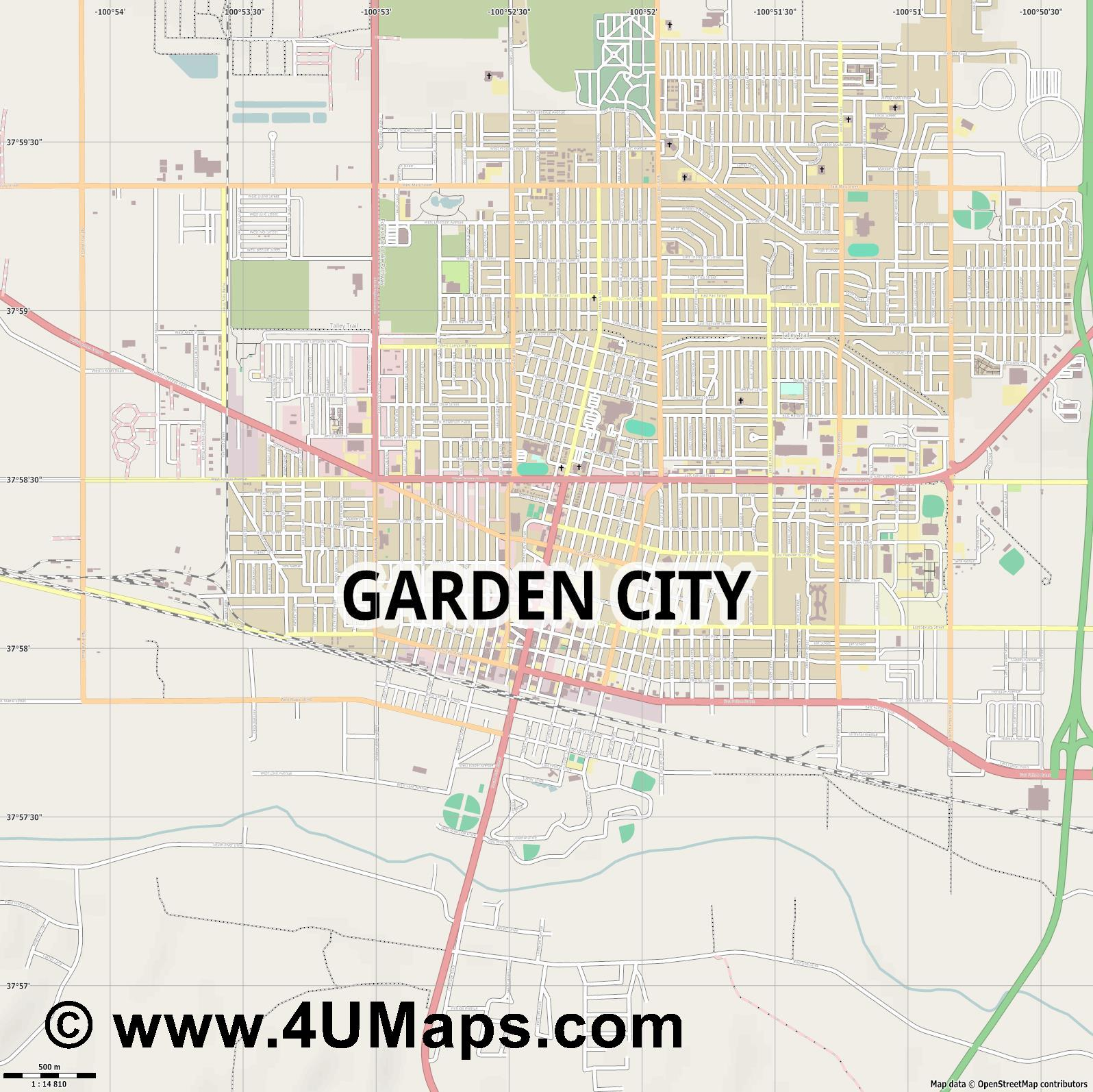 Garden City  jpg ultra high detail preview vector city map