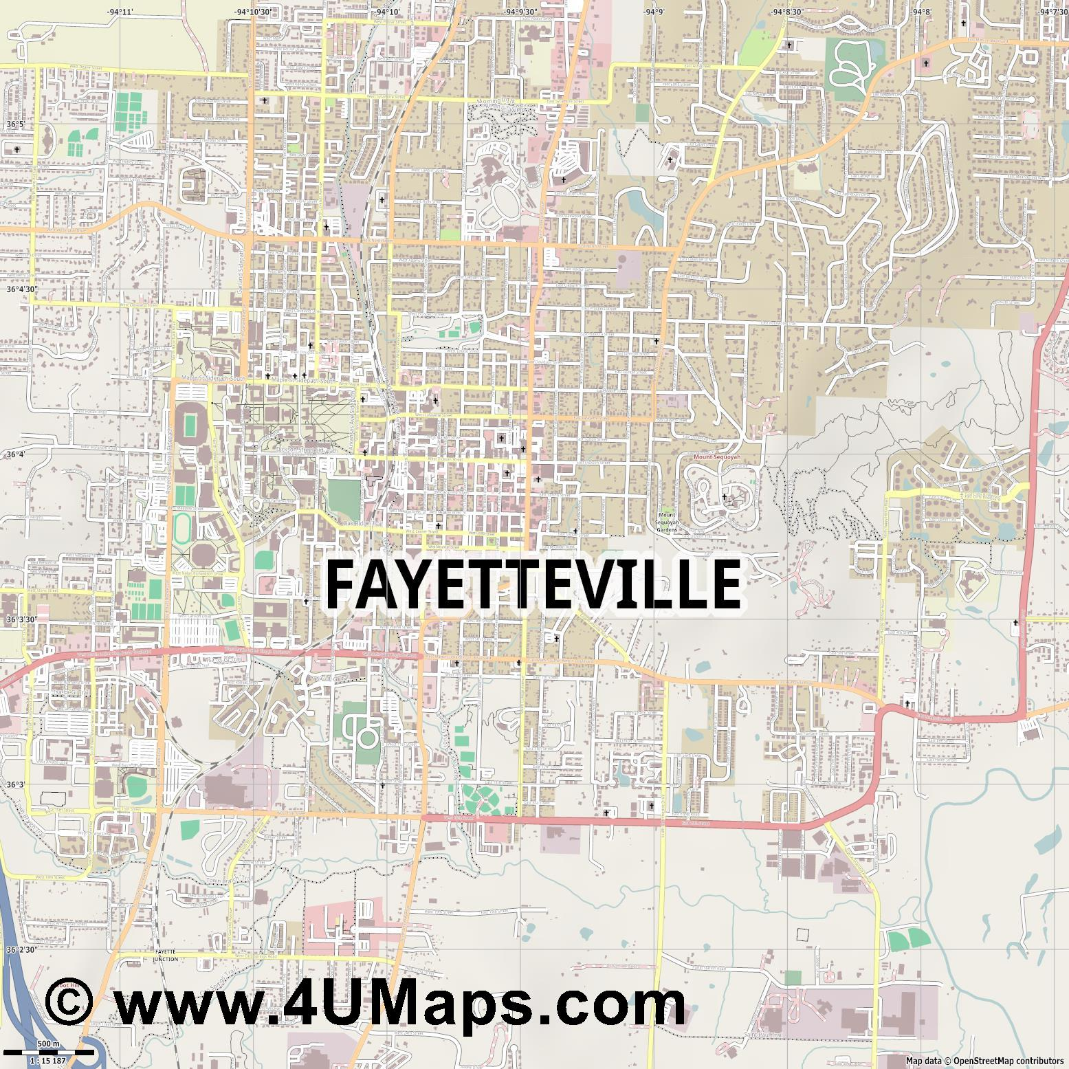 Fayetteville  jpg ultra high detail preview vector city map
