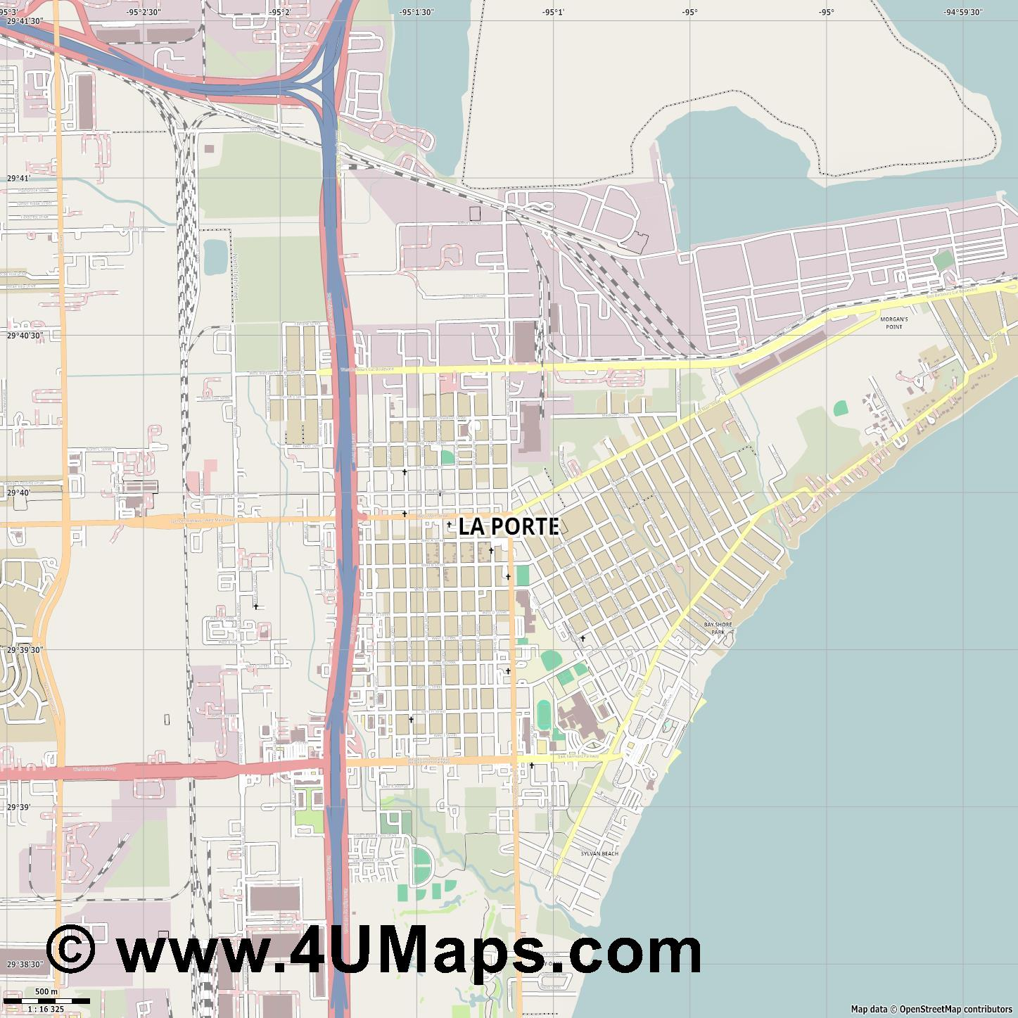 La Porte  jpg ultra high detail preview vector city map