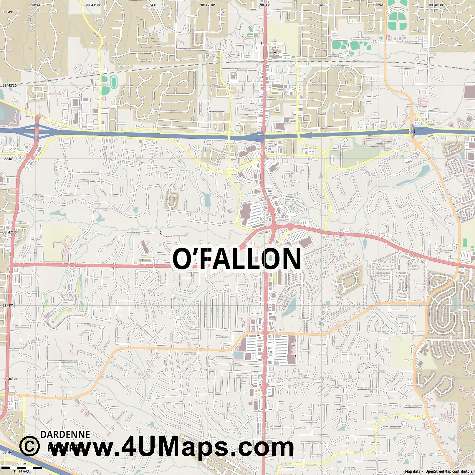 O Fallon  jpg ultra high detail preview vector city map