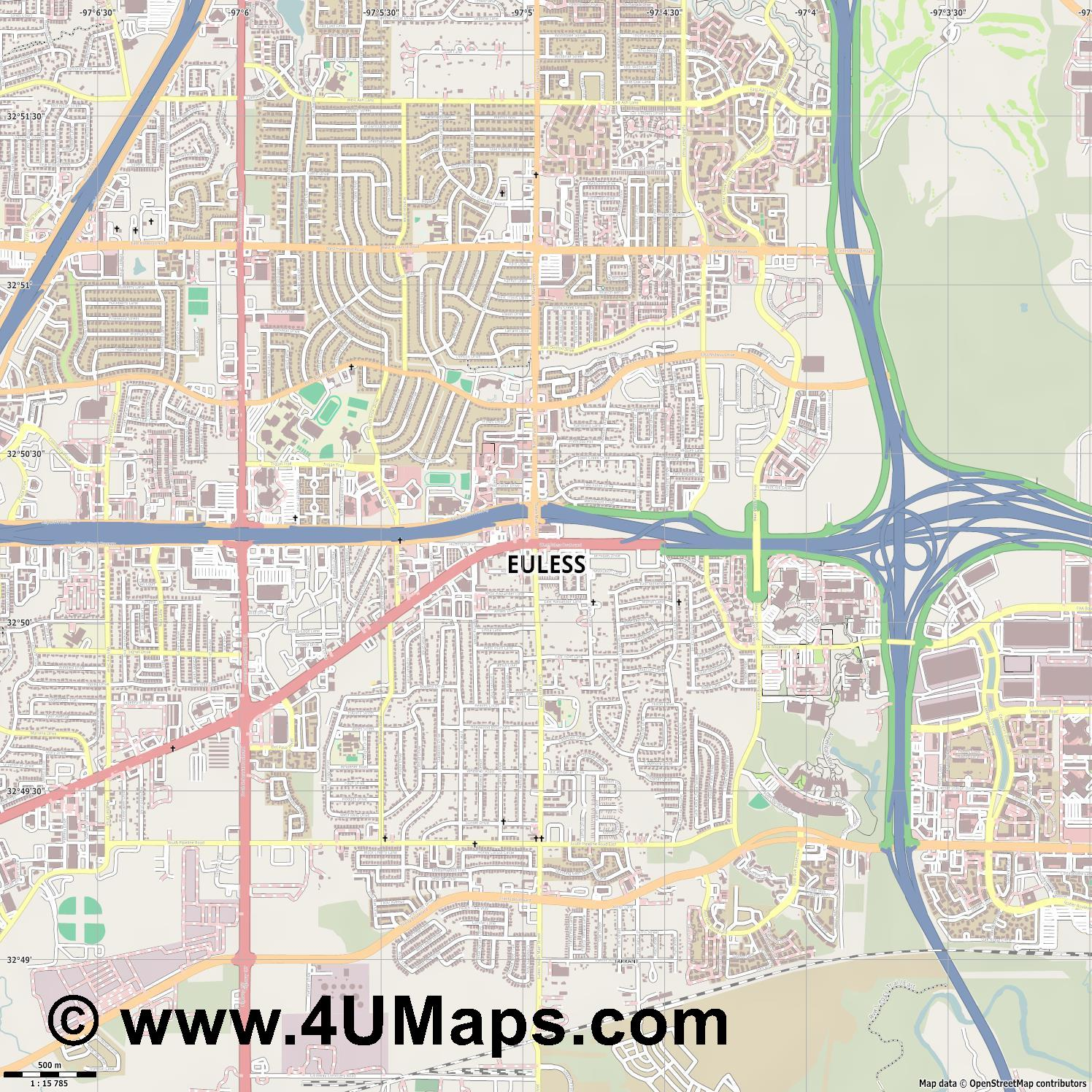 Euless  jpg ultra high detail preview vector city map