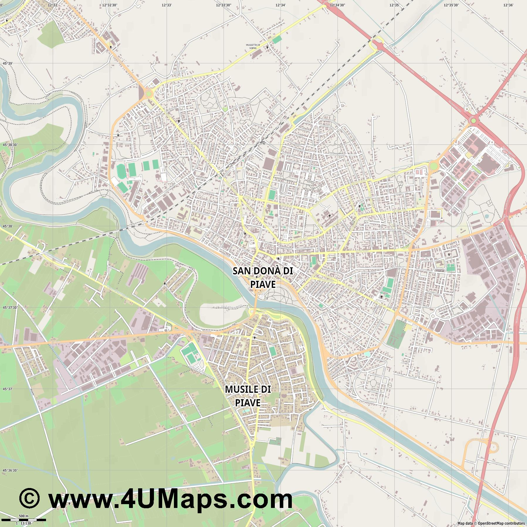 San Dona  di Piave  jpg ultra high detail preview vector city map