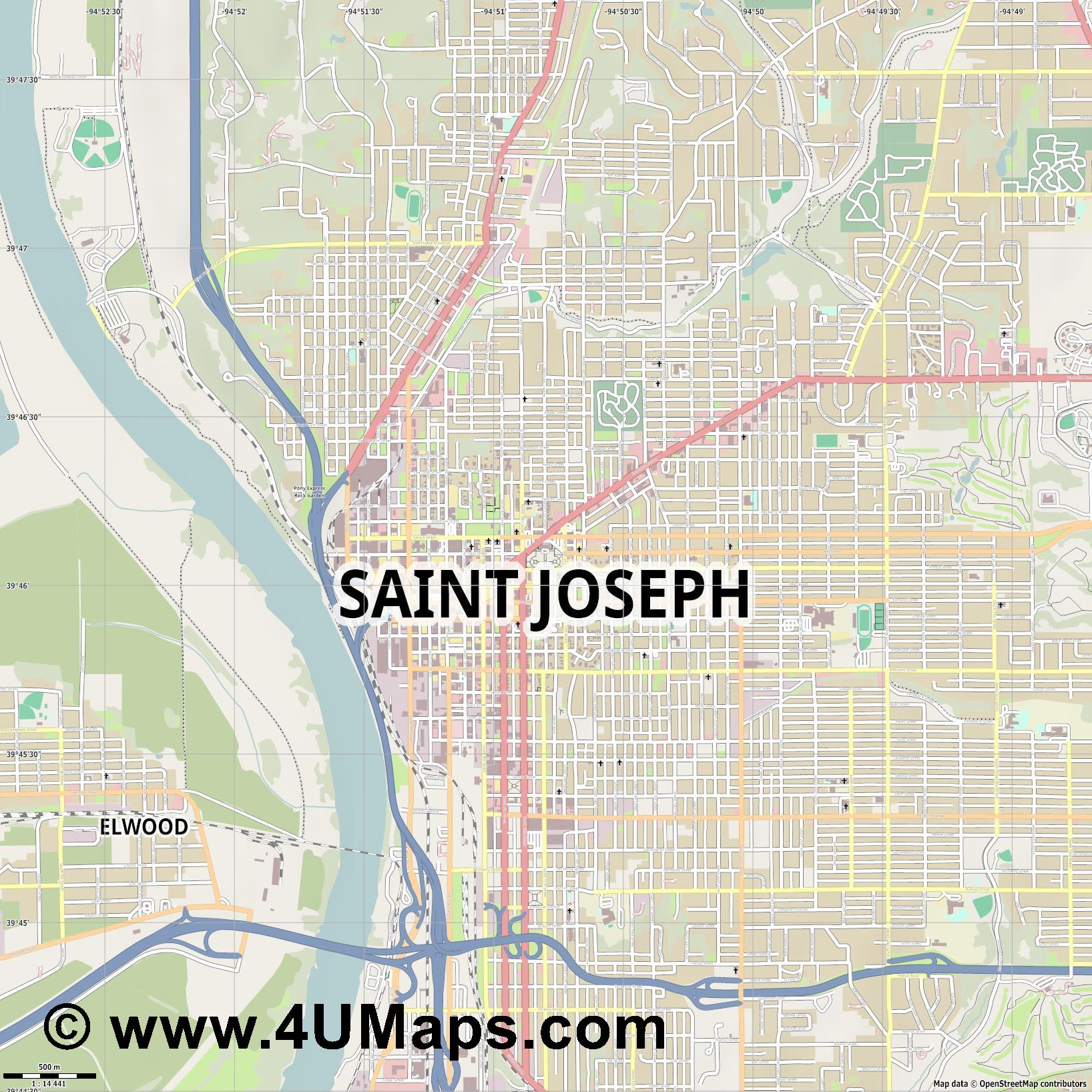 Saint Joseph  jpg ultra high detail preview vector city map