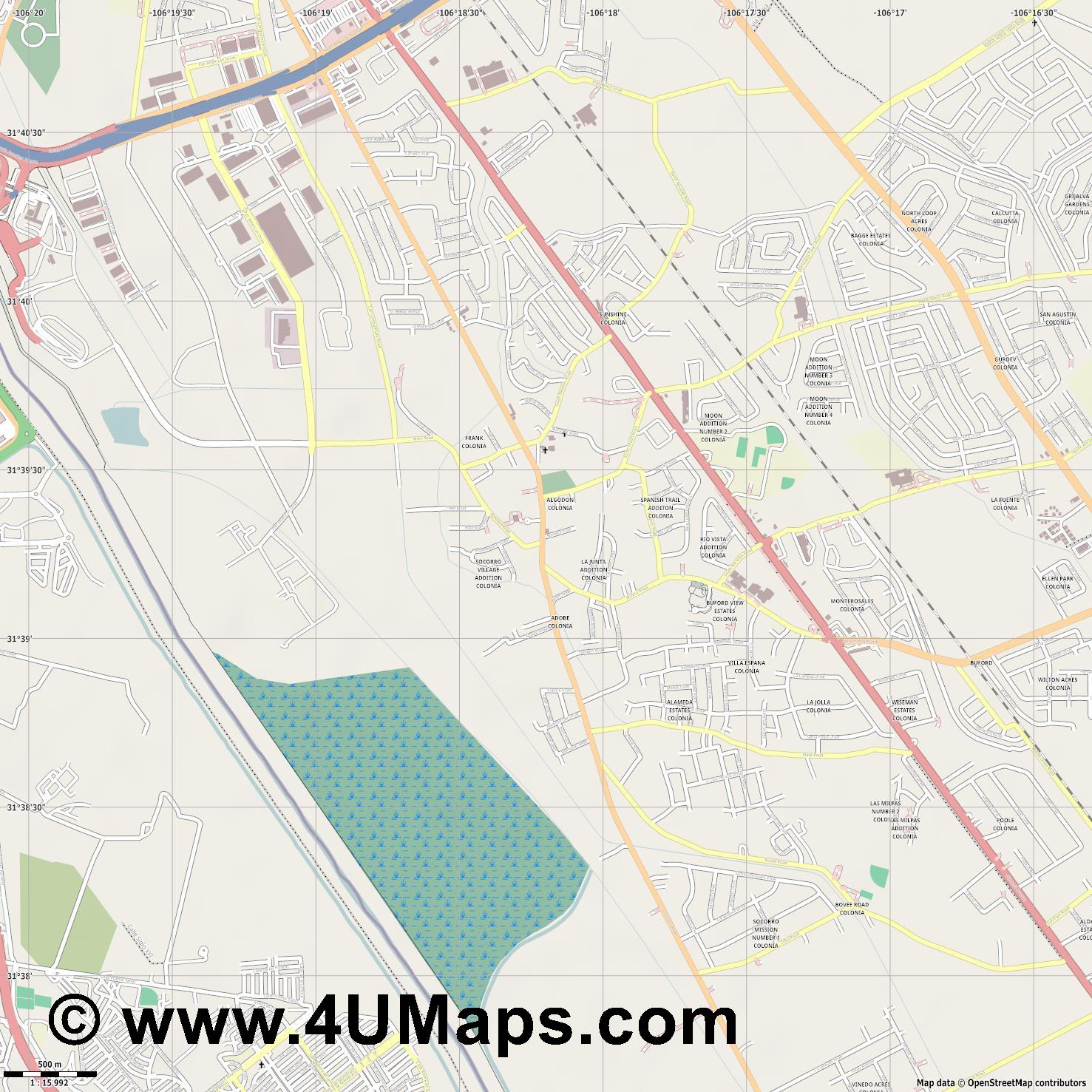 Socorro  jpg ultra high detail preview vector city map