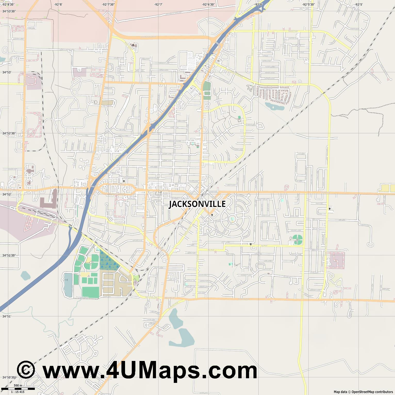 Jacksonville  jpg ultra high detail preview vector city map
