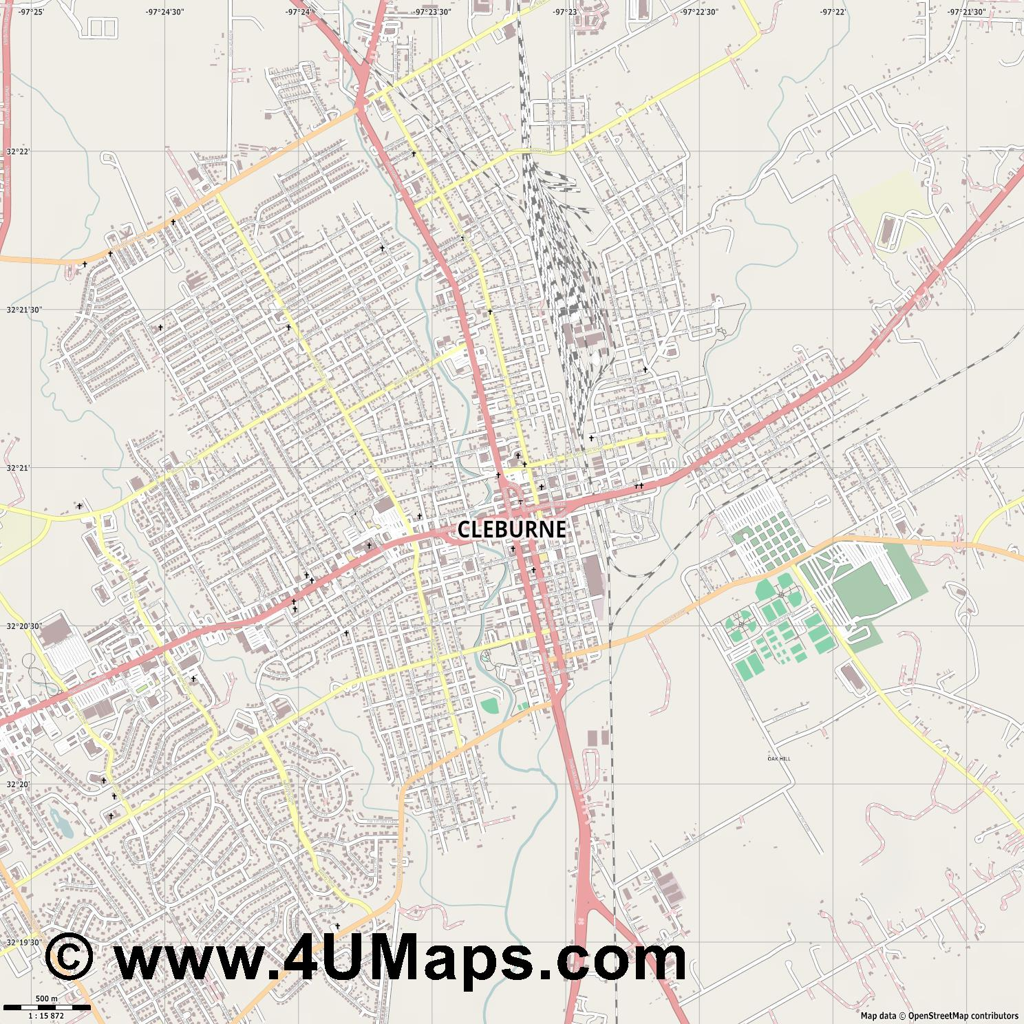 Cleburne  jpg ultra high detail preview vector city map