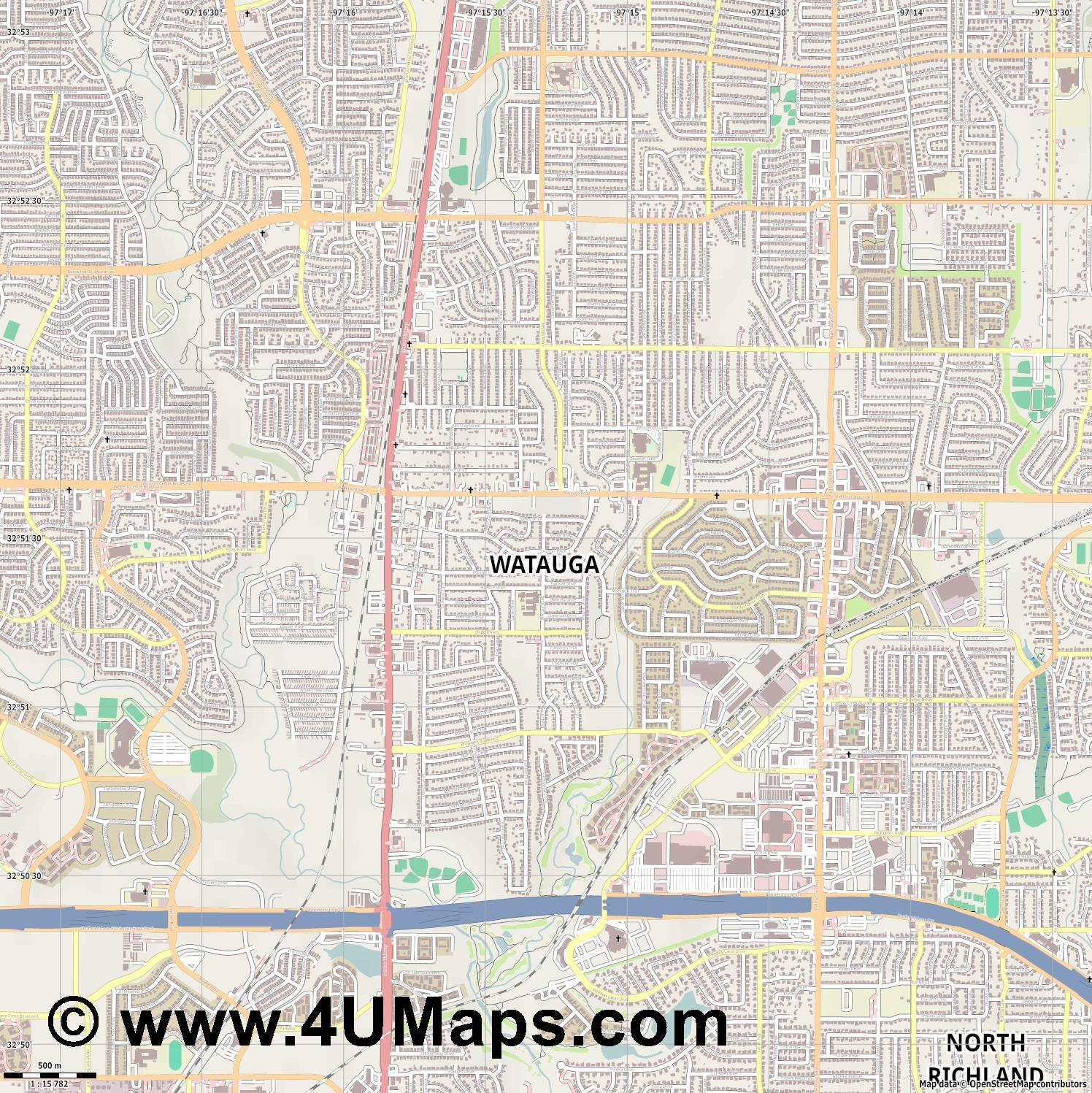 Watauga  jpg ultra high detail preview vector city map