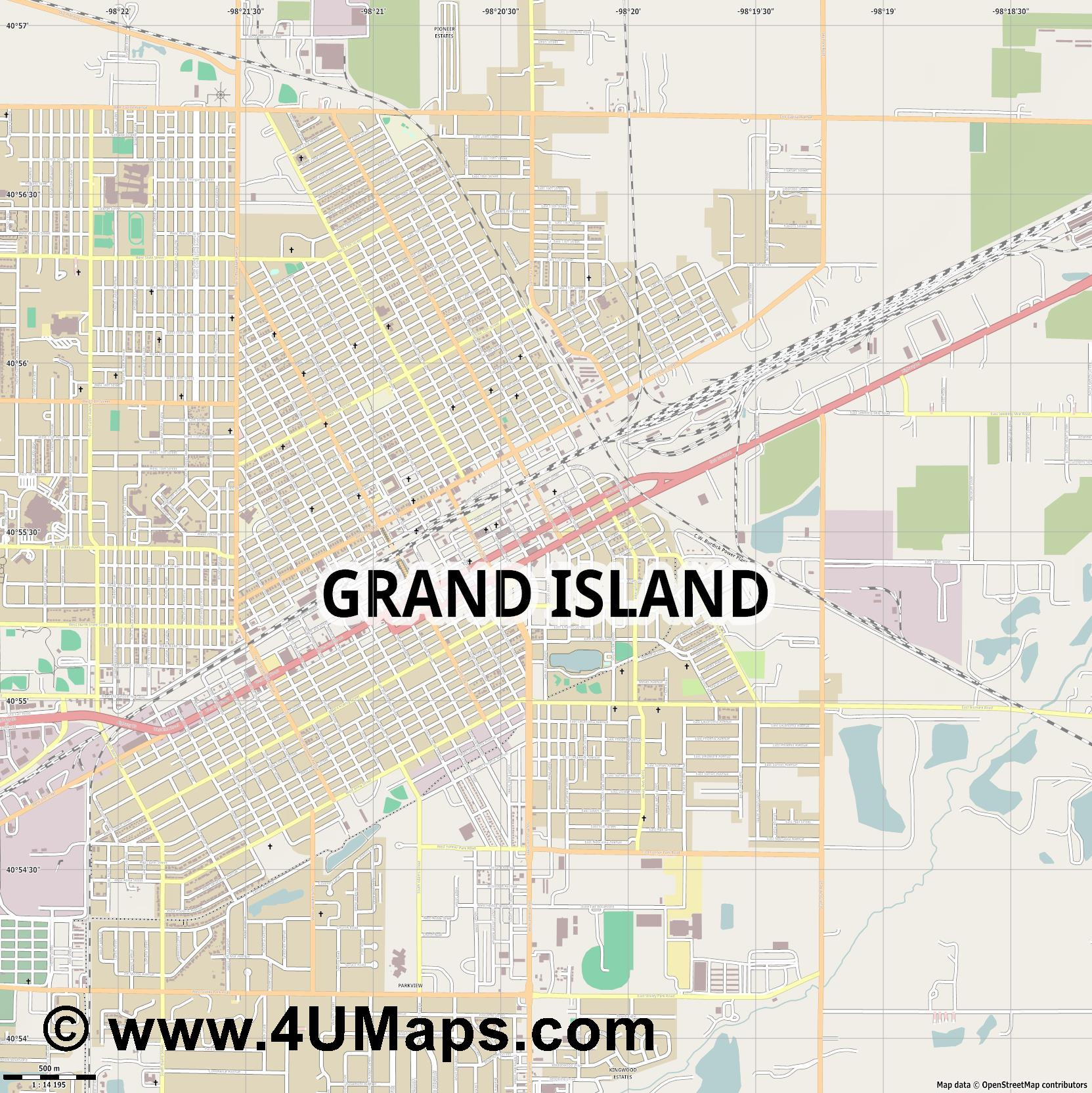 Grand Island  jpg ultra high detail preview vector city map