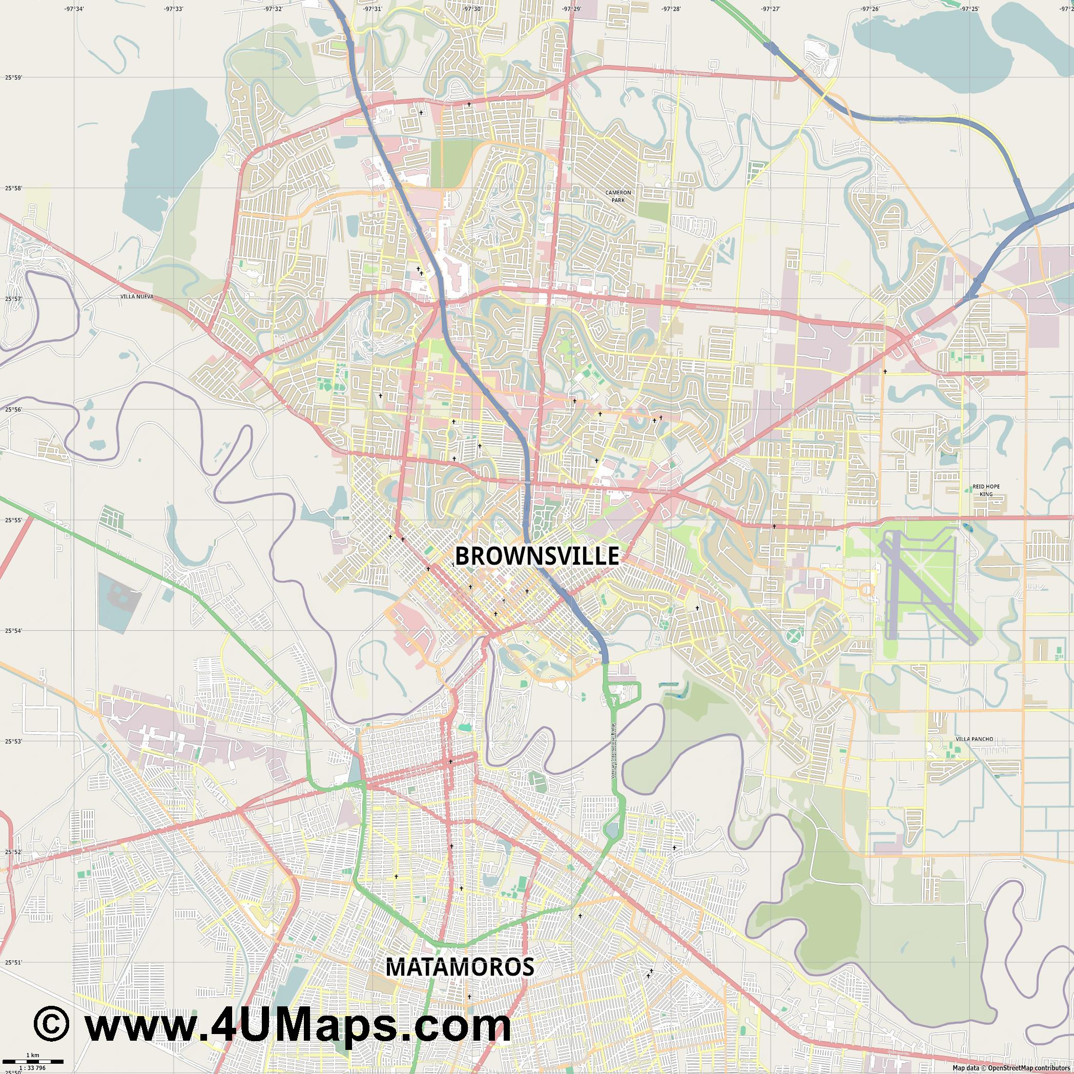 Brownsville  jpg high detail, large area preview vector city map