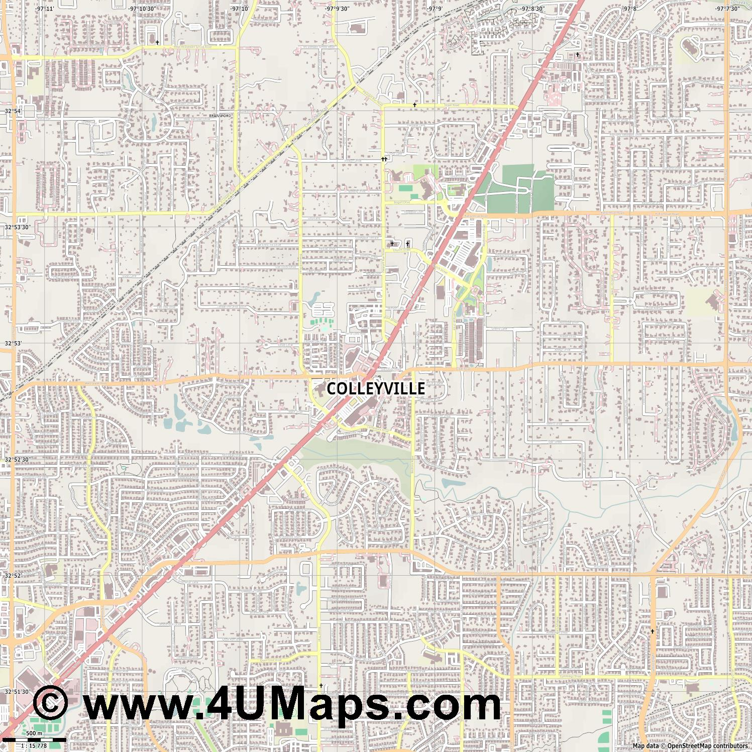Colleyville  jpg ultra high detail preview vector city map
