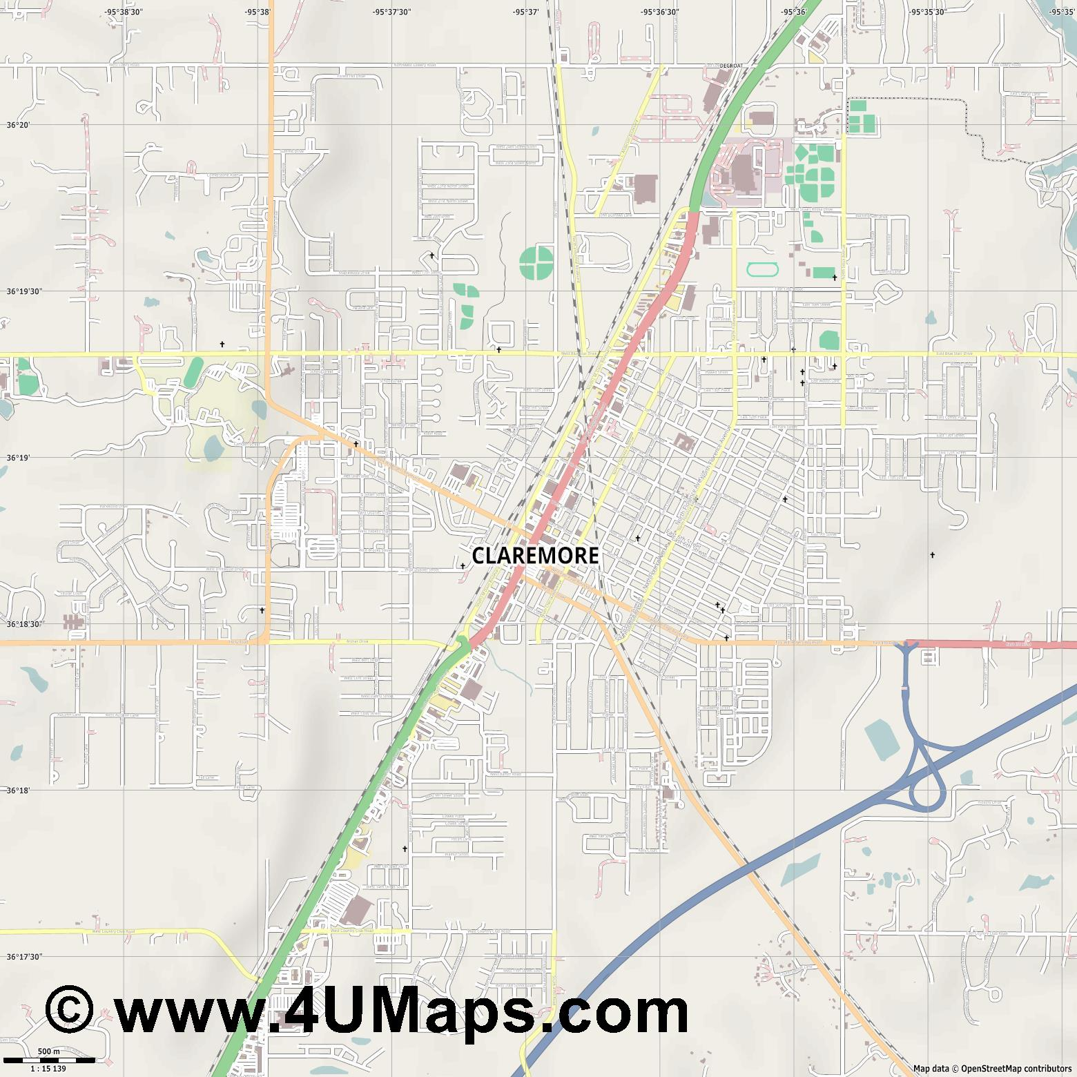 Claremore  jpg ultra high detail preview vector city map