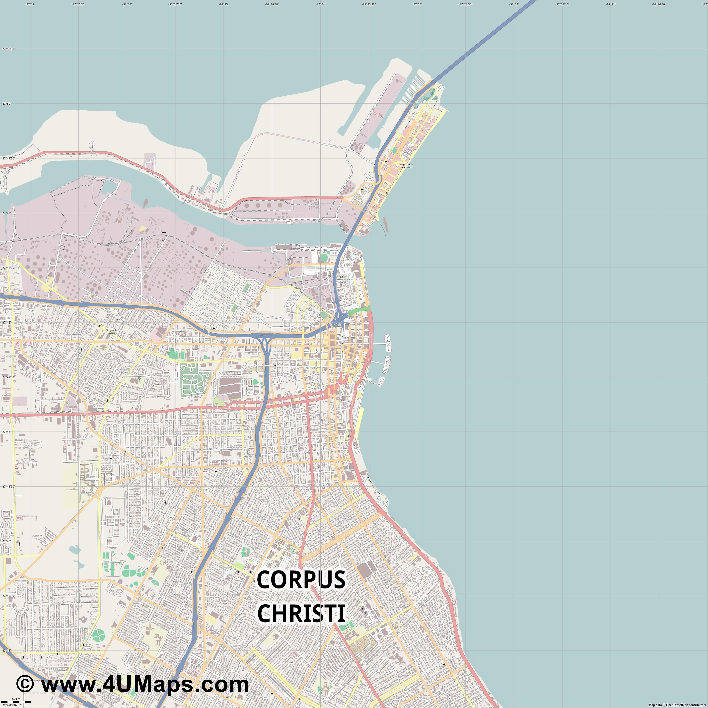 Corpus Christi  jpg ultra high detail preview vector city map