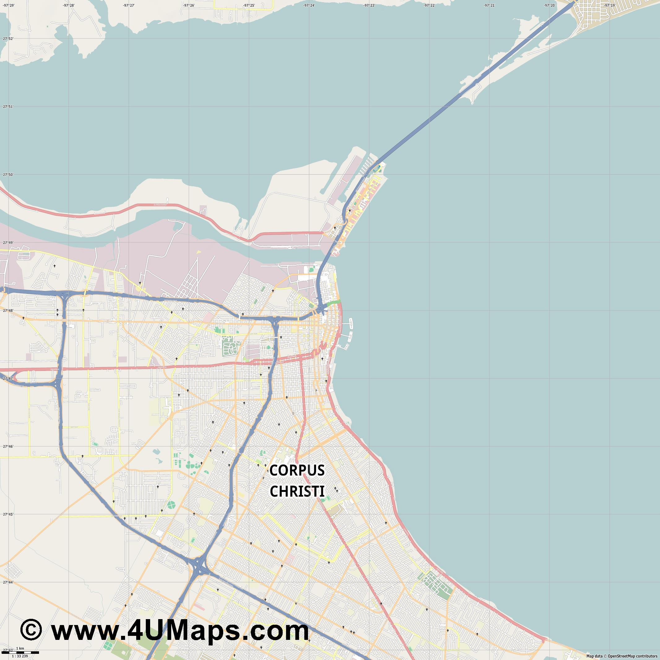 Corpus Christi  jpg high detail, large area preview vector city map