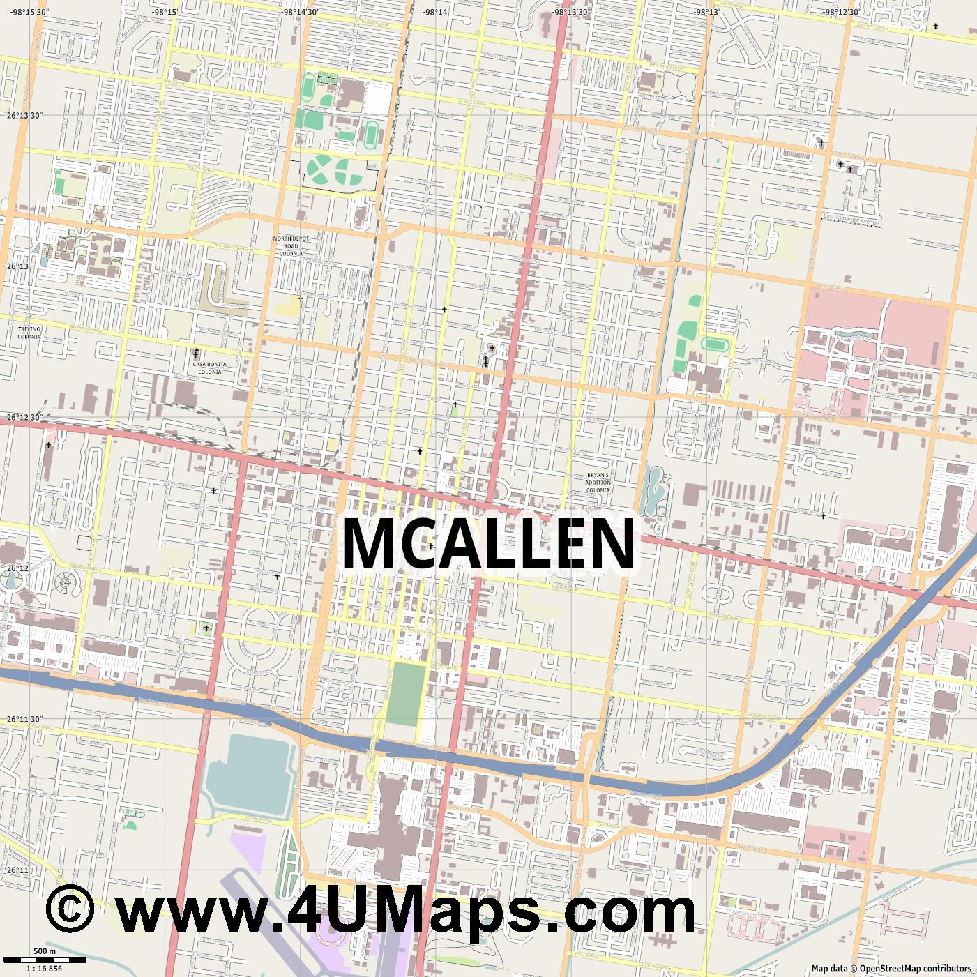 McAllen  jpg ultra high detail preview vector city map