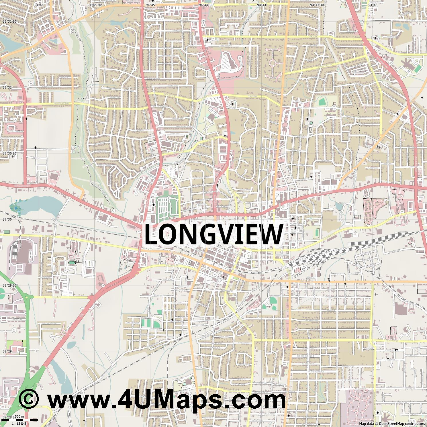 Longview  jpg ultra high detail preview vector city map