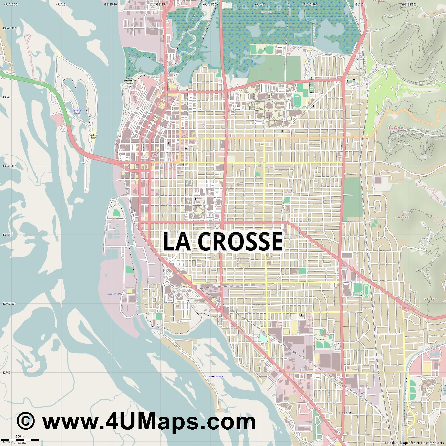 La Crosse  jpg ultra high detail preview vector city map