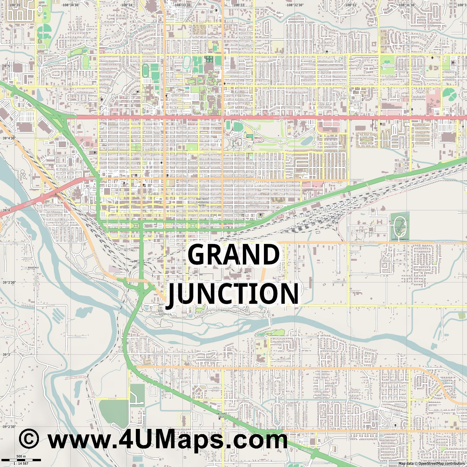 Grand Junction  jpg ultra high detail preview vector city map