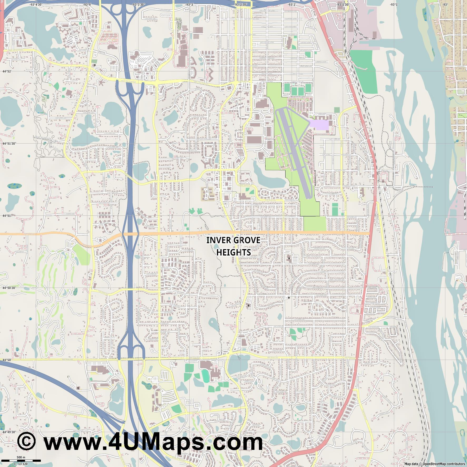Inver Grove Heights  jpg ultra high detail preview vector city map