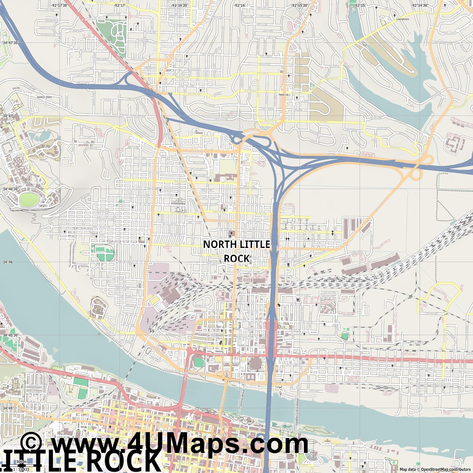 North Little Rock  jpg ultra high detail preview vector city map