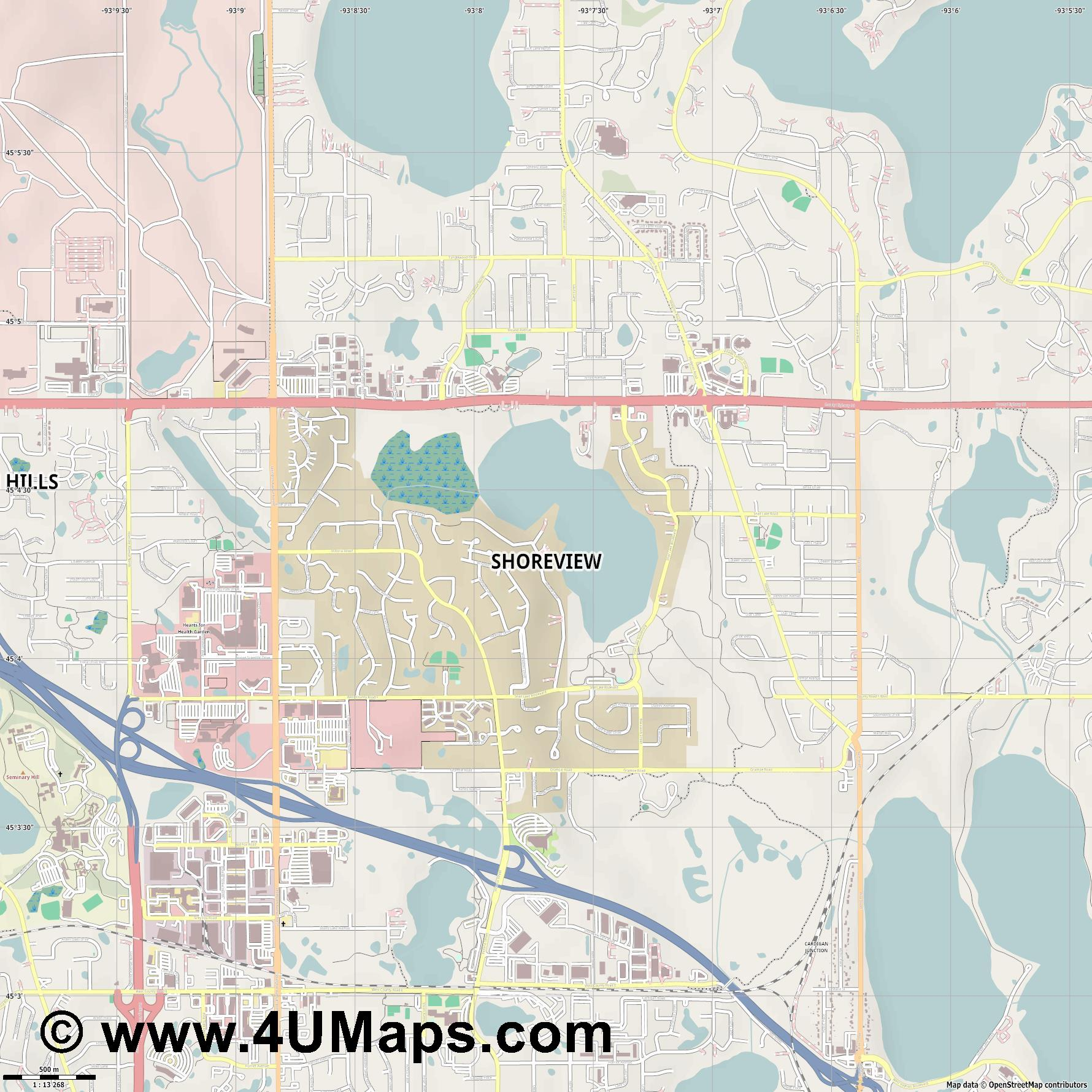 Shoreview  jpg ultra high detail preview vector city map