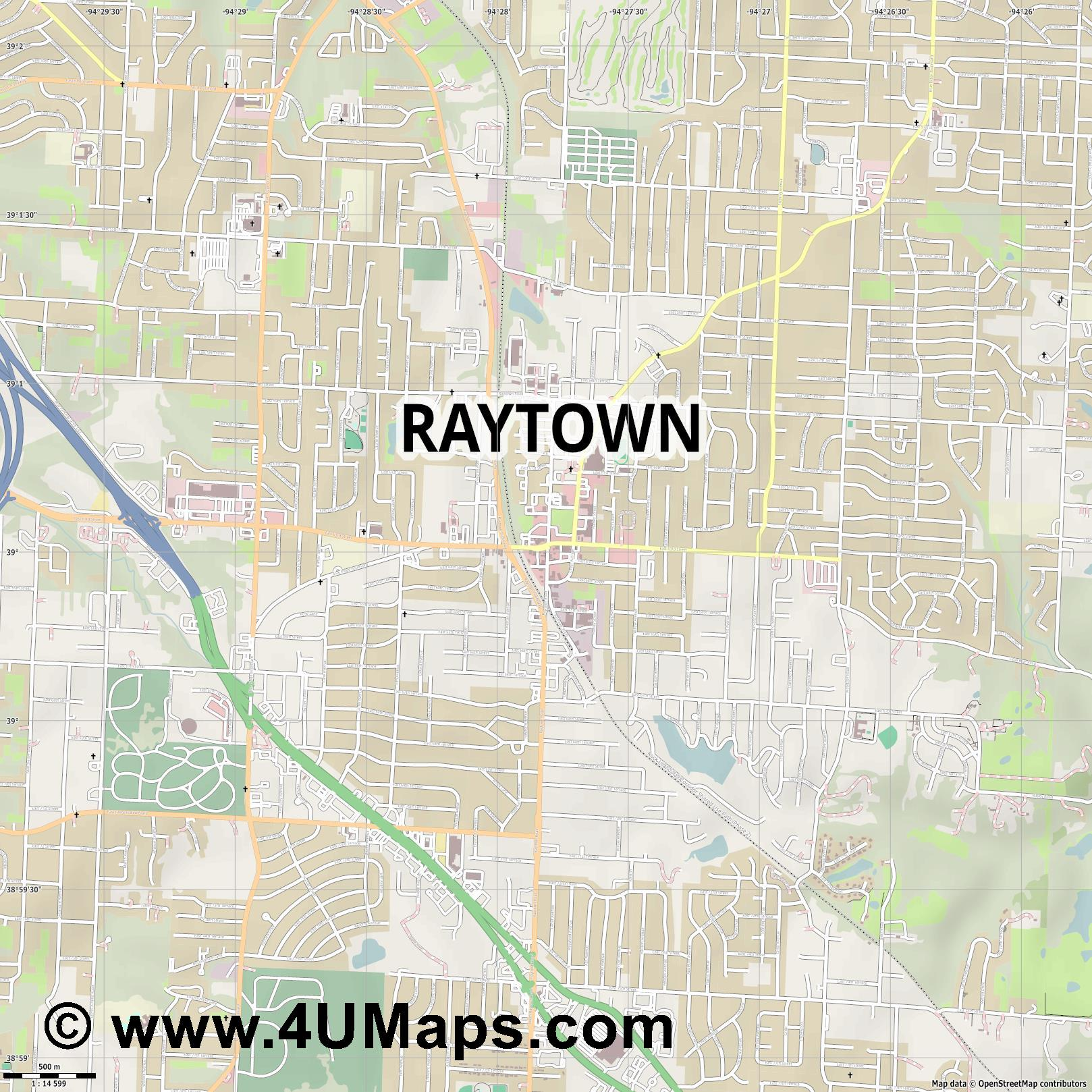 Raytown  jpg ultra high detail preview vector city map