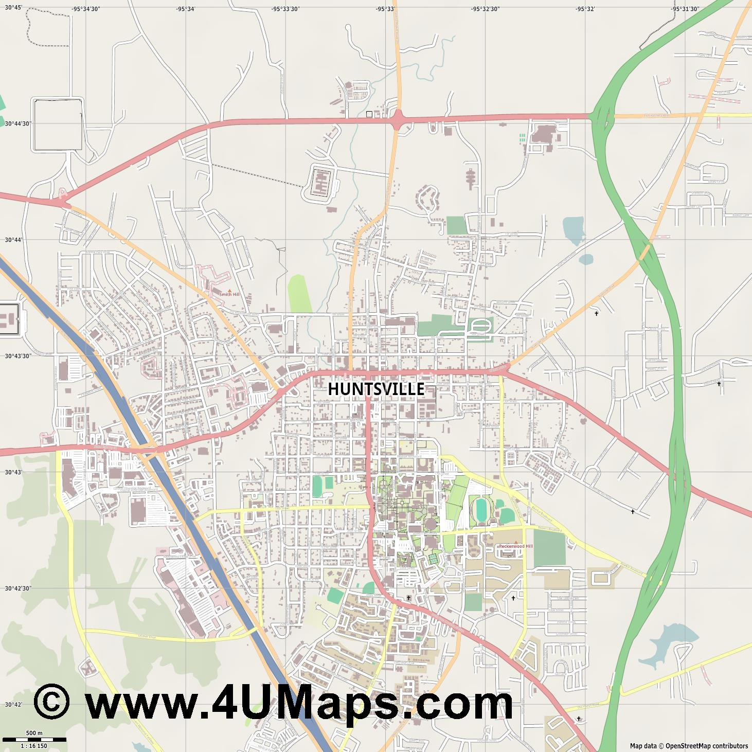 Huntsville  jpg ultra high detail preview vector city map