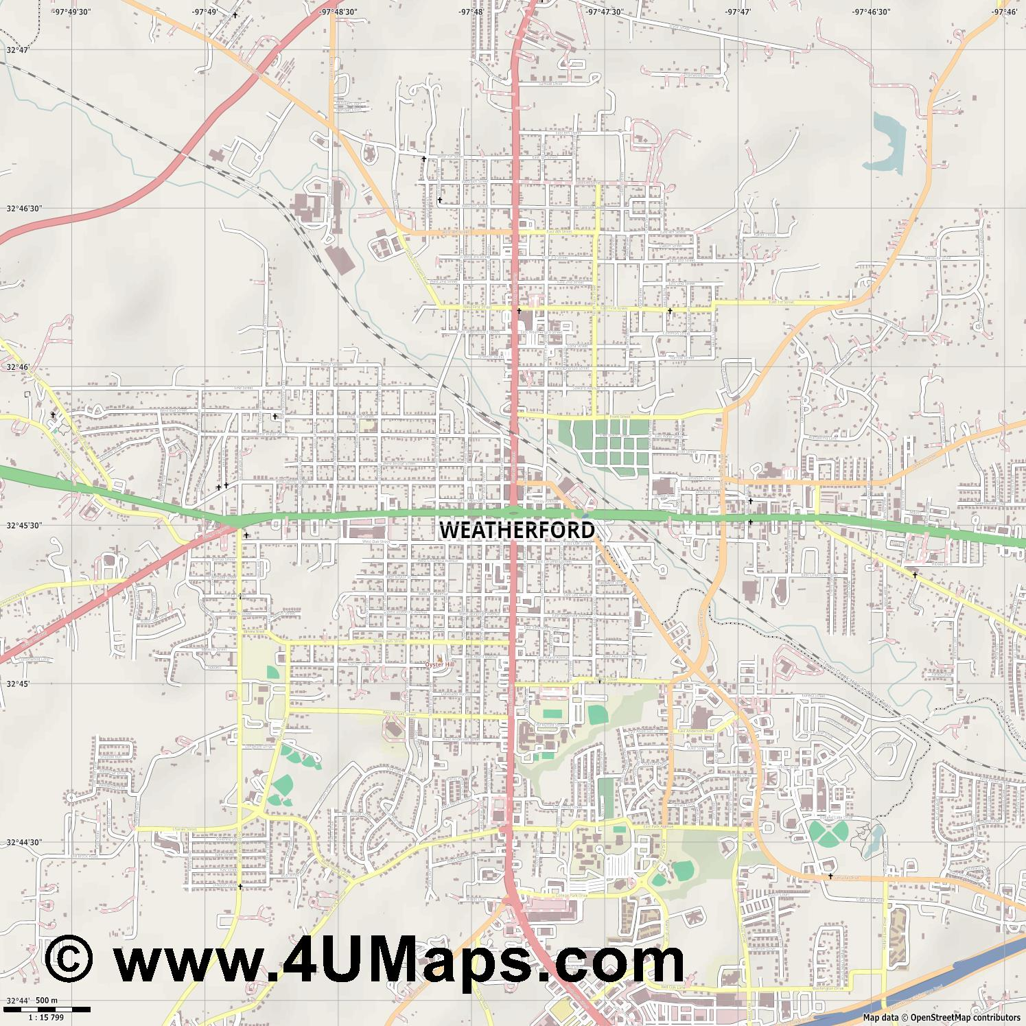 Weatherford  jpg ultra high detail preview vector city map