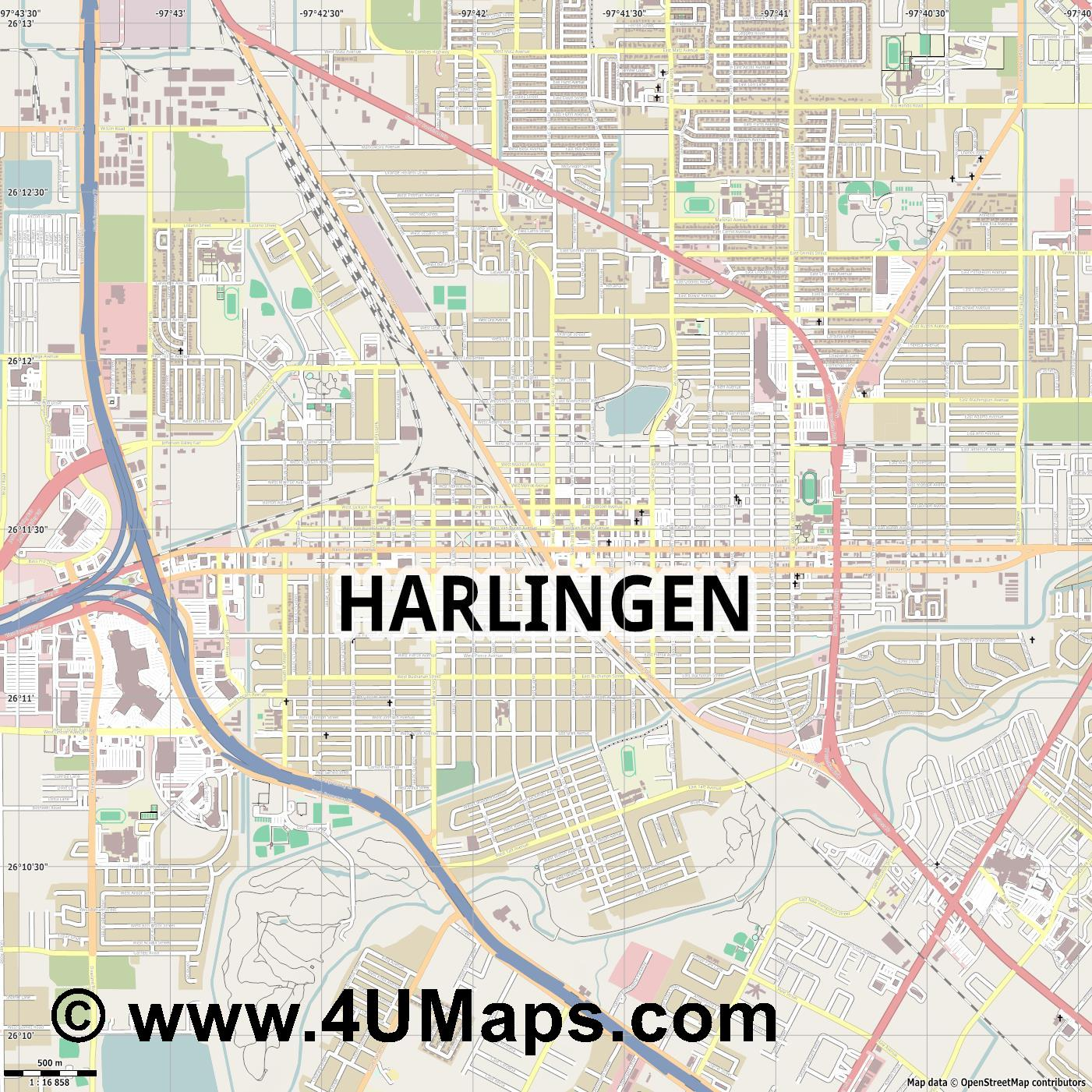 Harlingen  jpg ultra high detail preview vector city map
