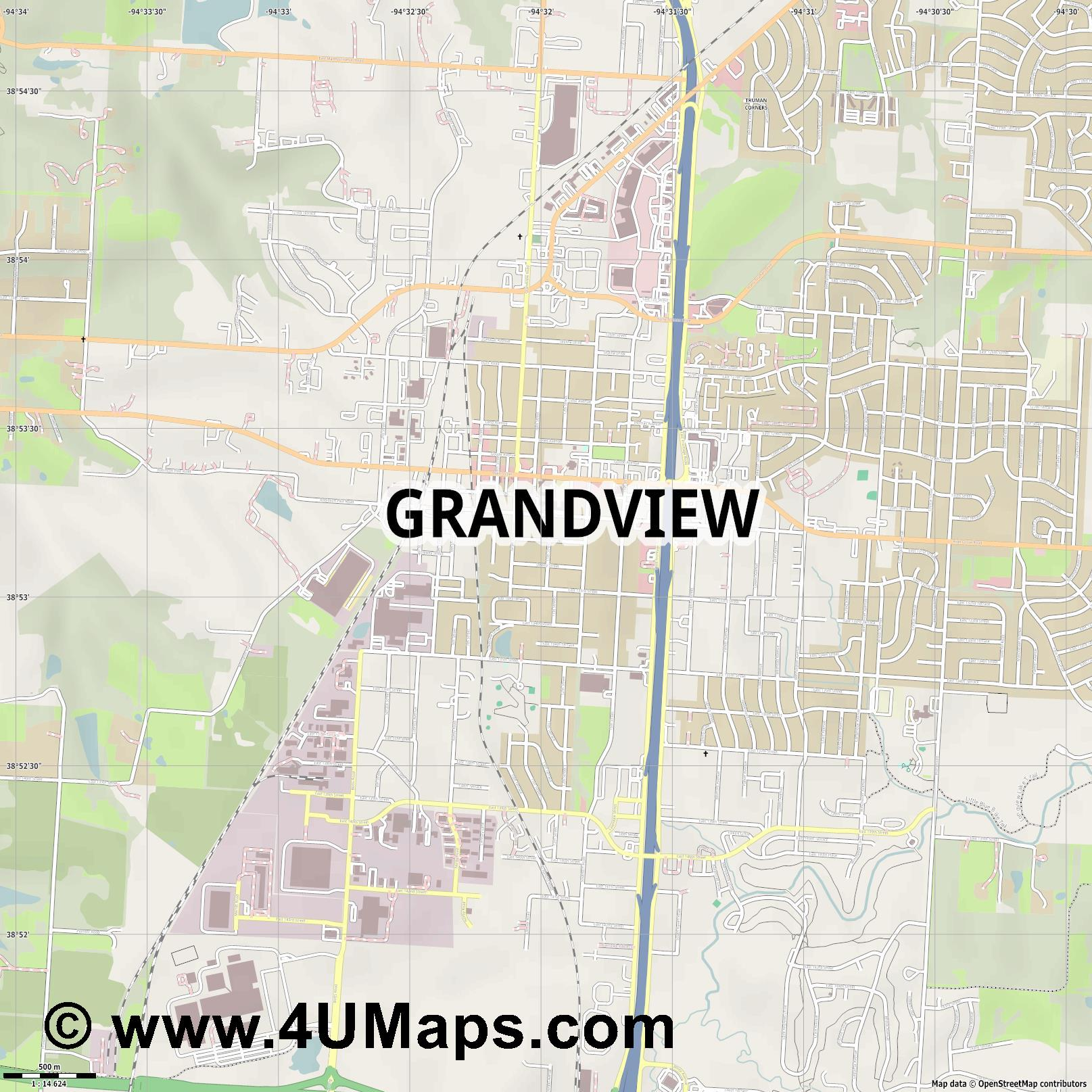 Grandview  jpg ultra high detail preview vector city map