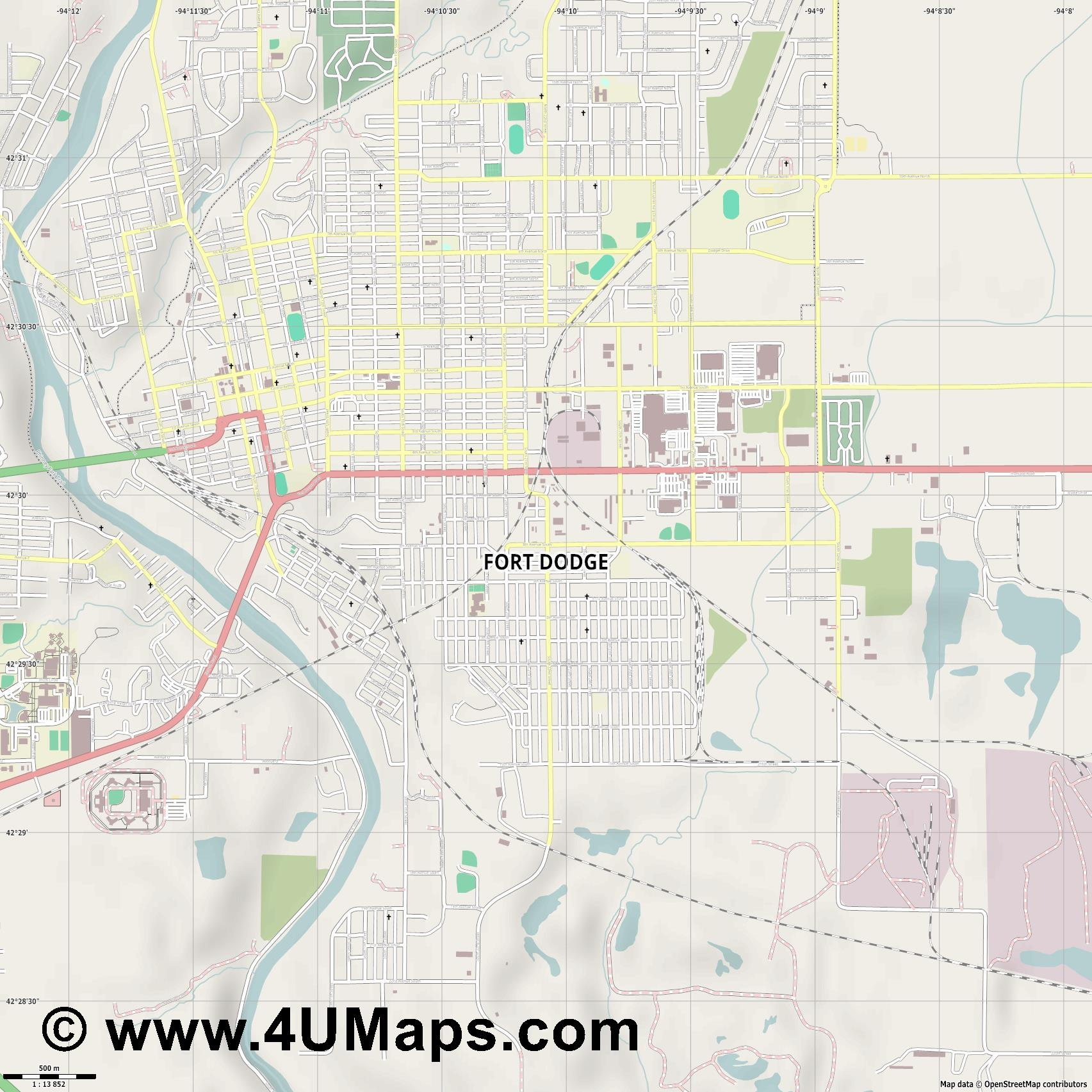 Fort Dodge  jpg ultra high detail preview vector city map