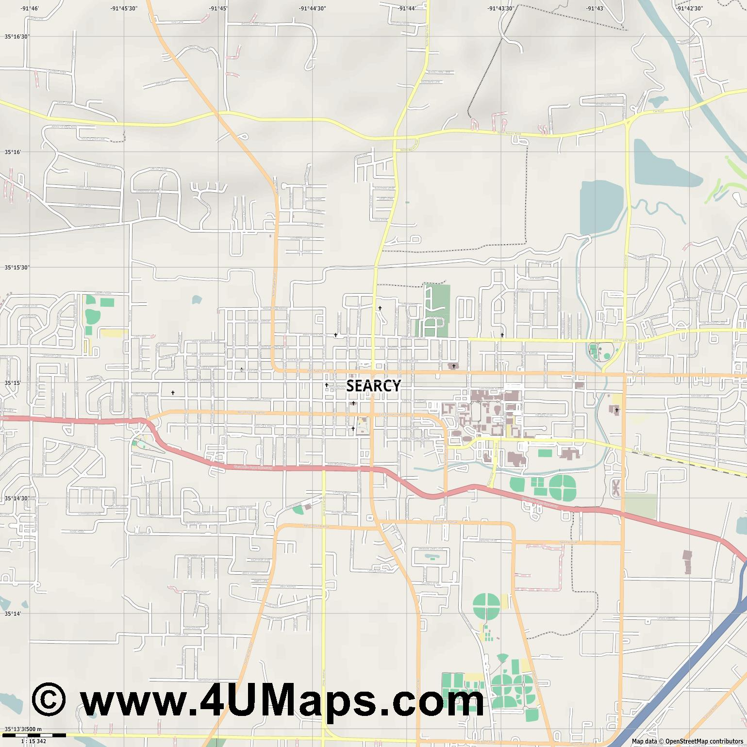 Searcy  jpg ultra high detail preview vector city map