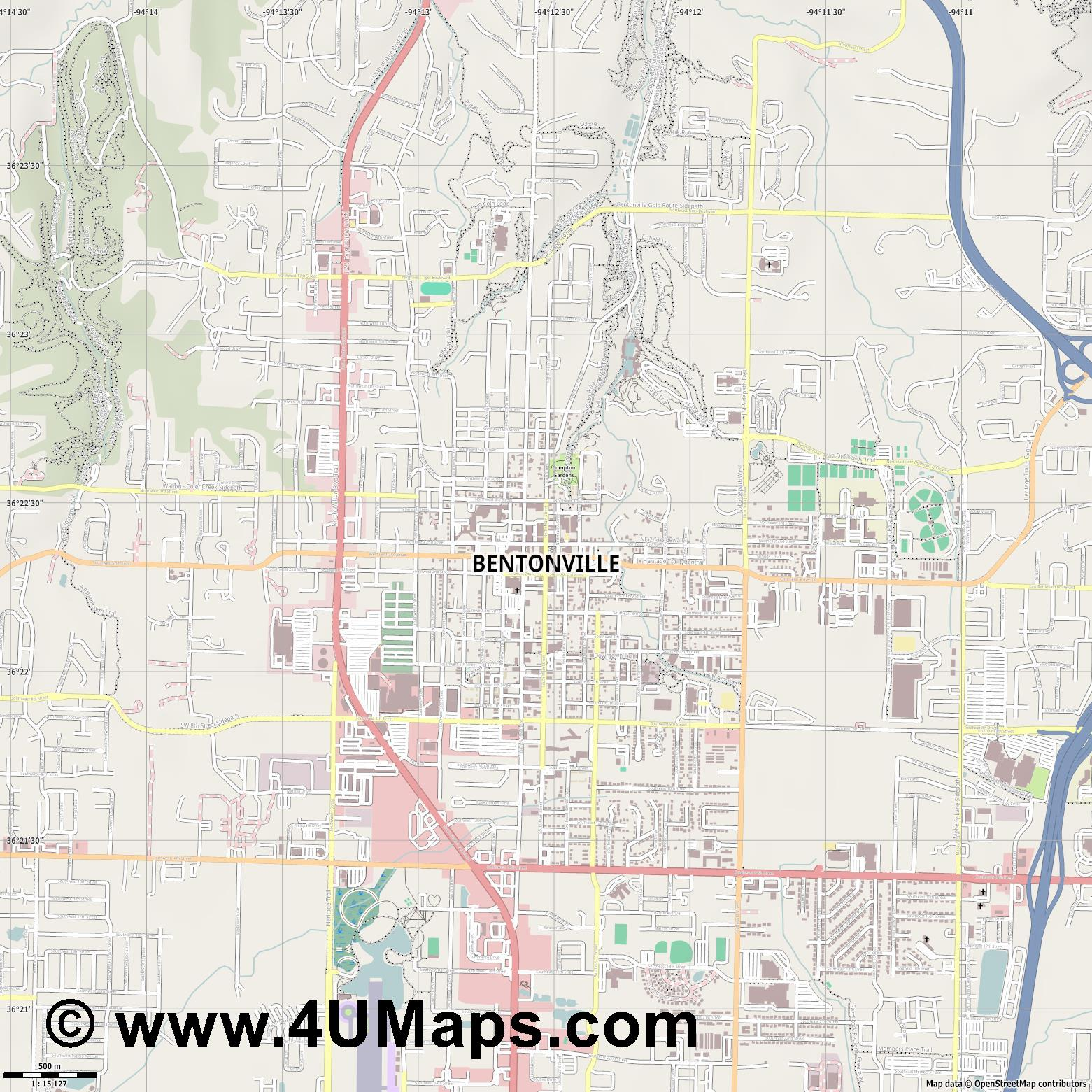 Bentonville  jpg ultra high detail preview vector city map