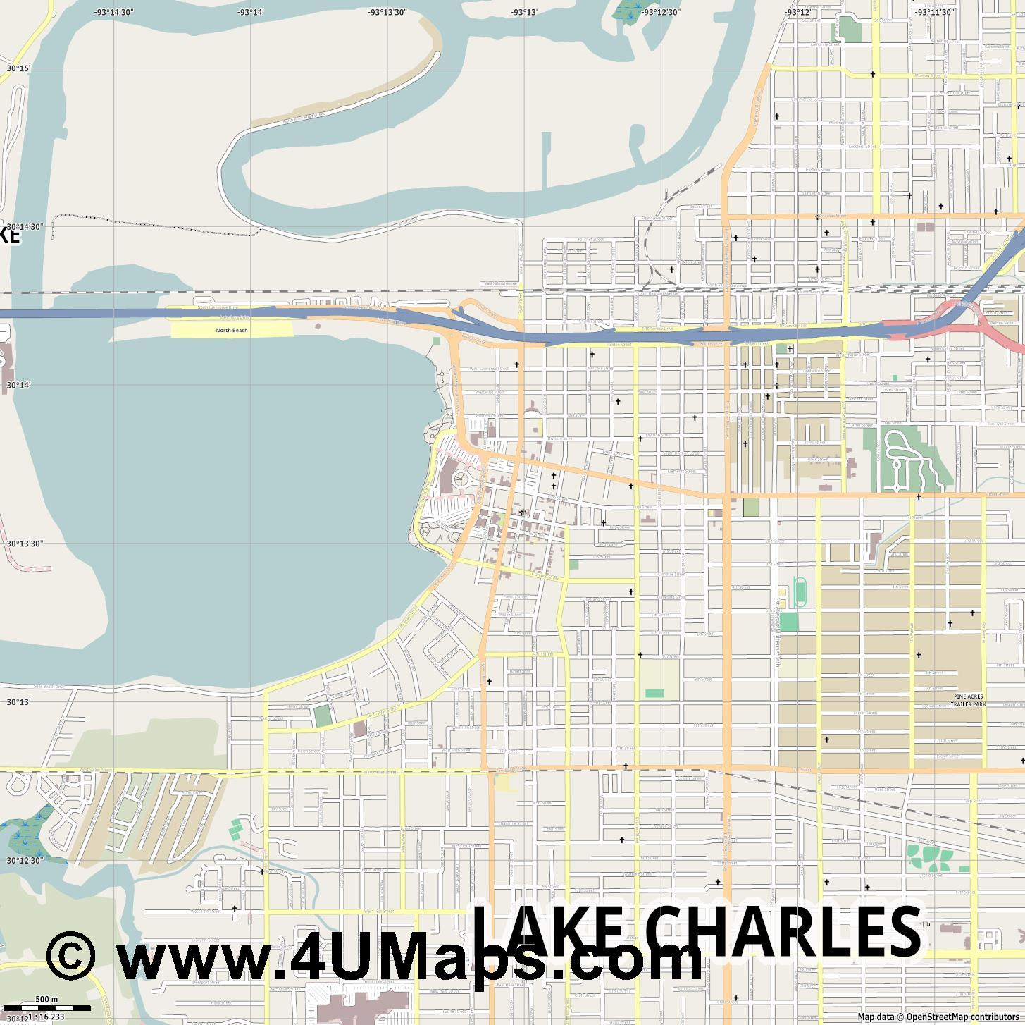 Lake Charles  jpg ultra high detail preview vector city map