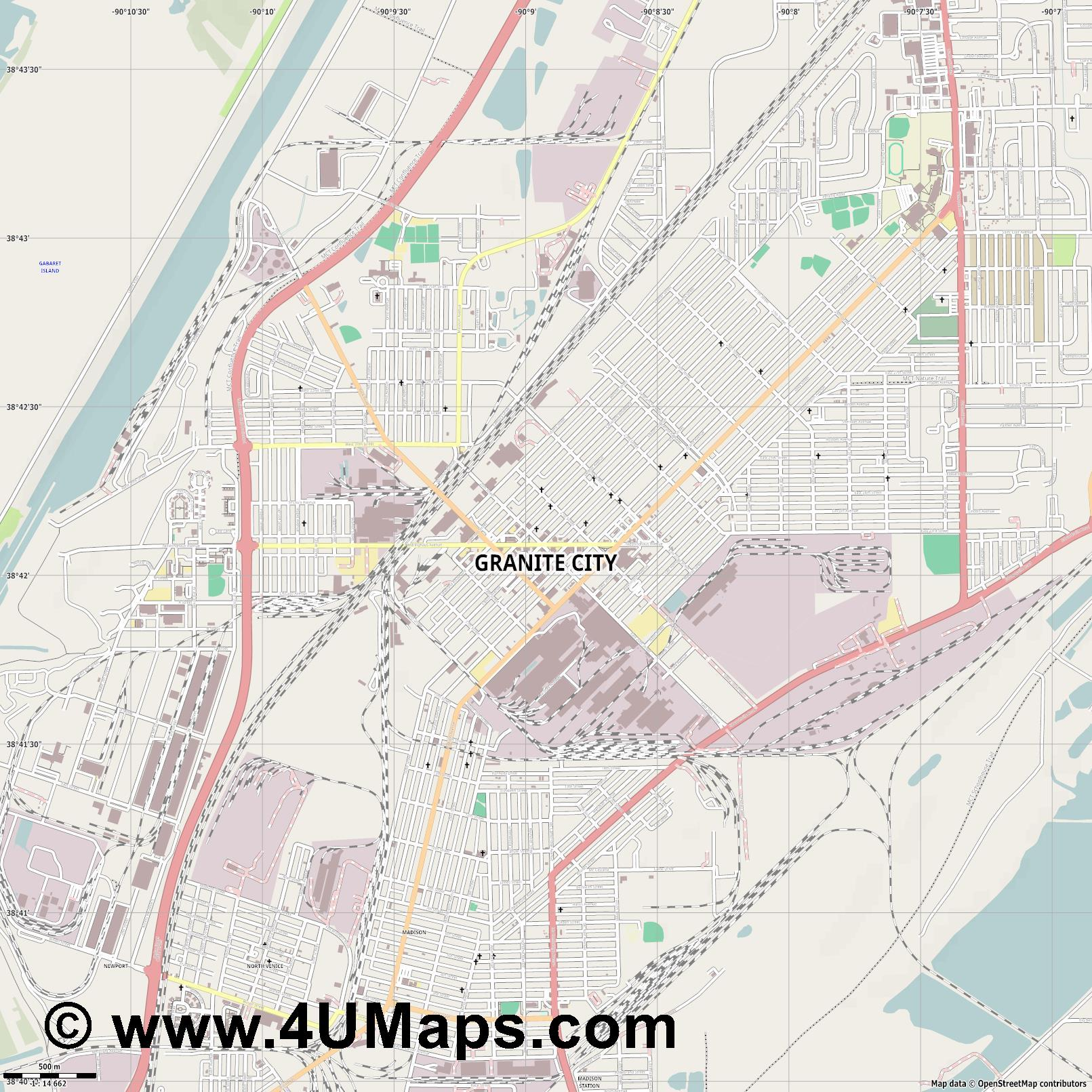 Granite City  jpg ultra high detail preview vector city map