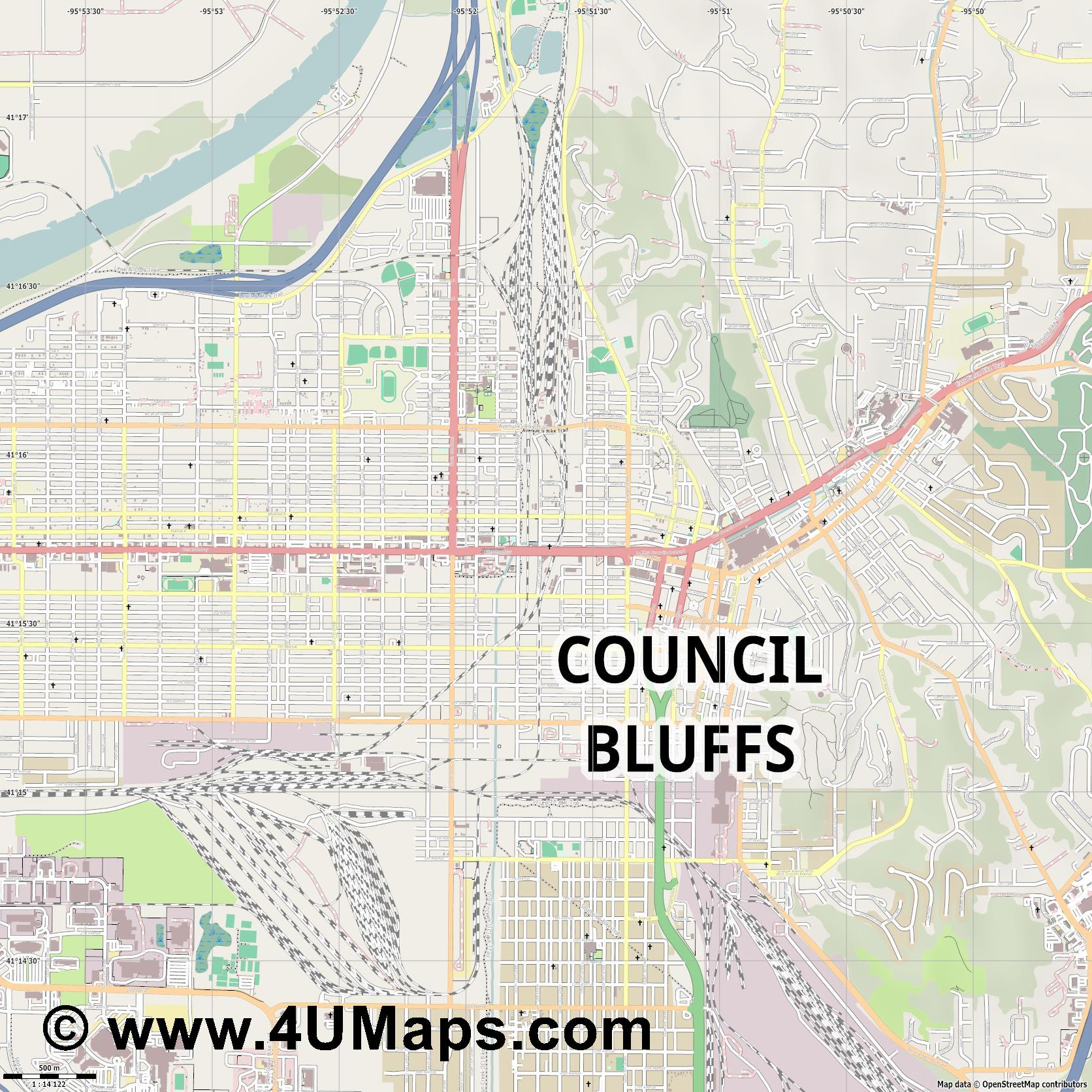 Council Bluffs  jpg ultra high detail preview vector city map