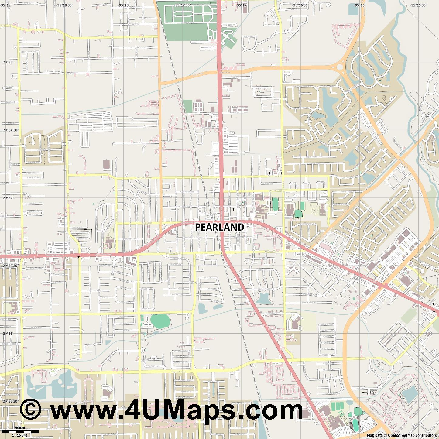 Pearland  jpg ultra high detail preview vector city map