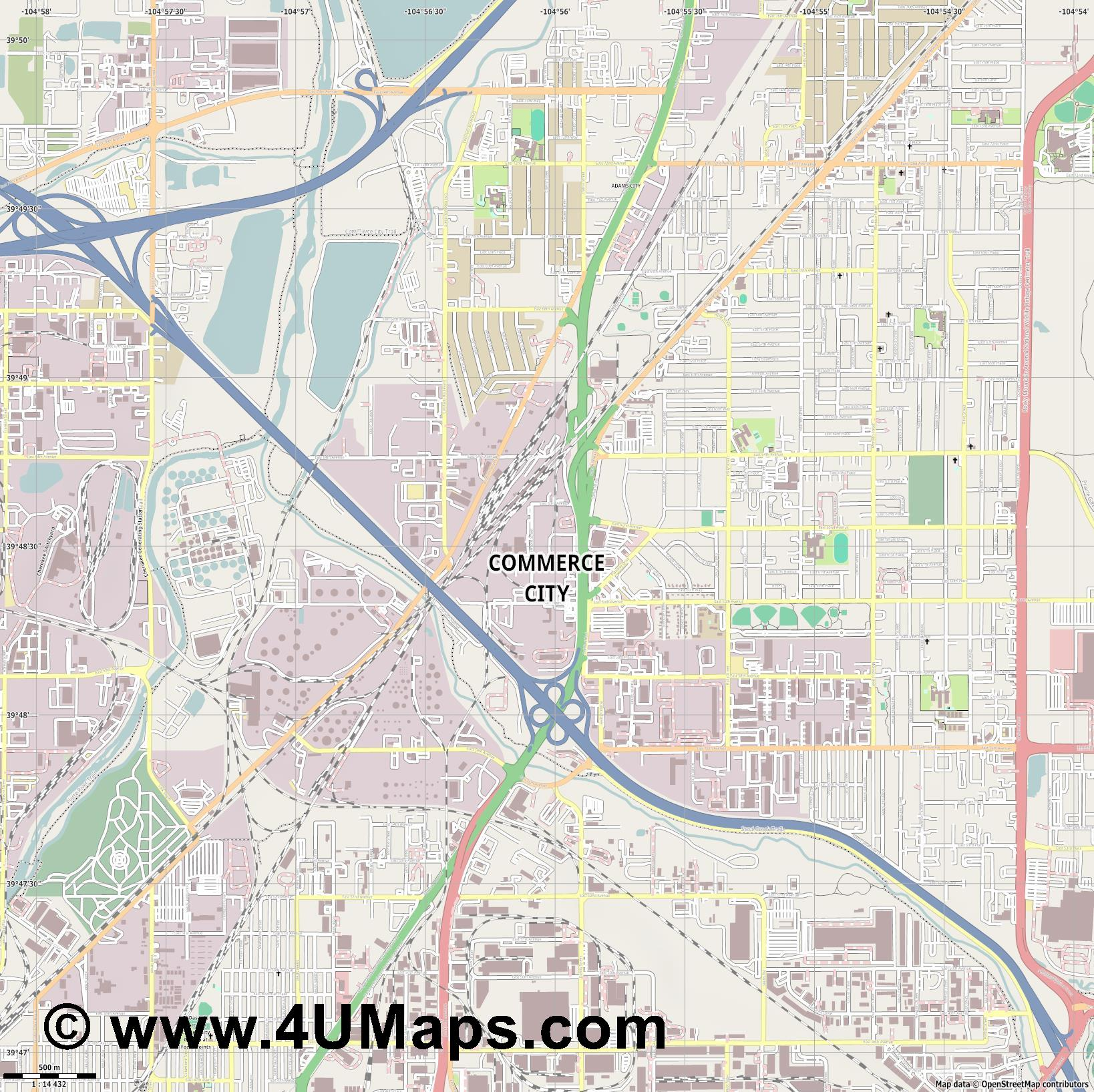 Commerce City  jpg ultra high detail preview vector city map