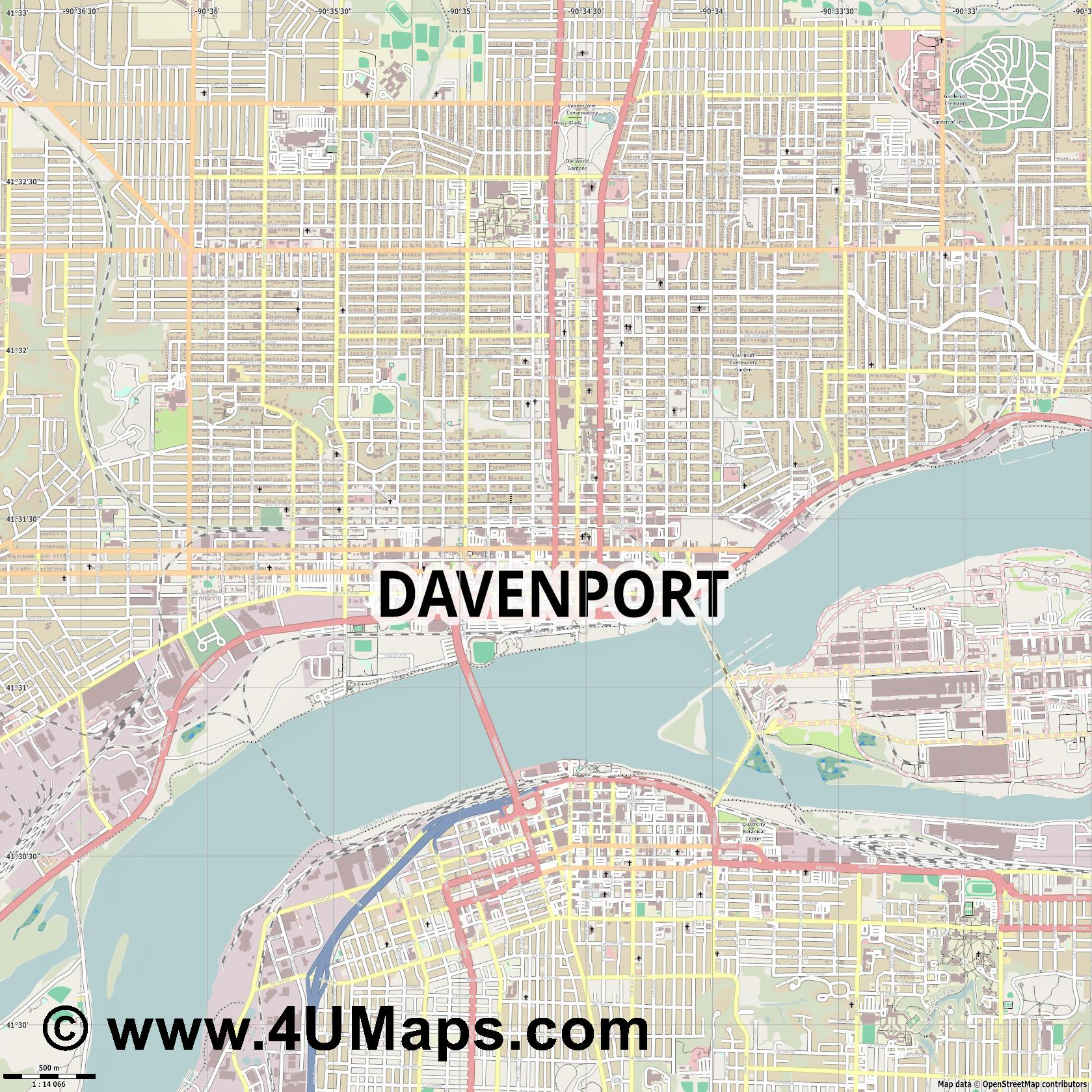Davenport  jpg ultra high detail preview vector city map