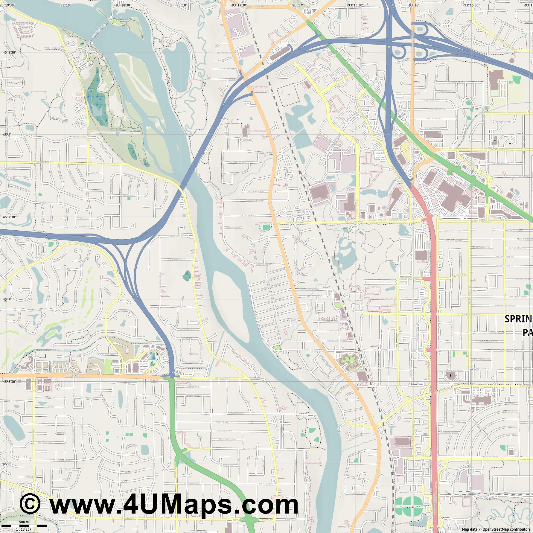 Coon Rapids  jpg ultra high detail preview vector city map