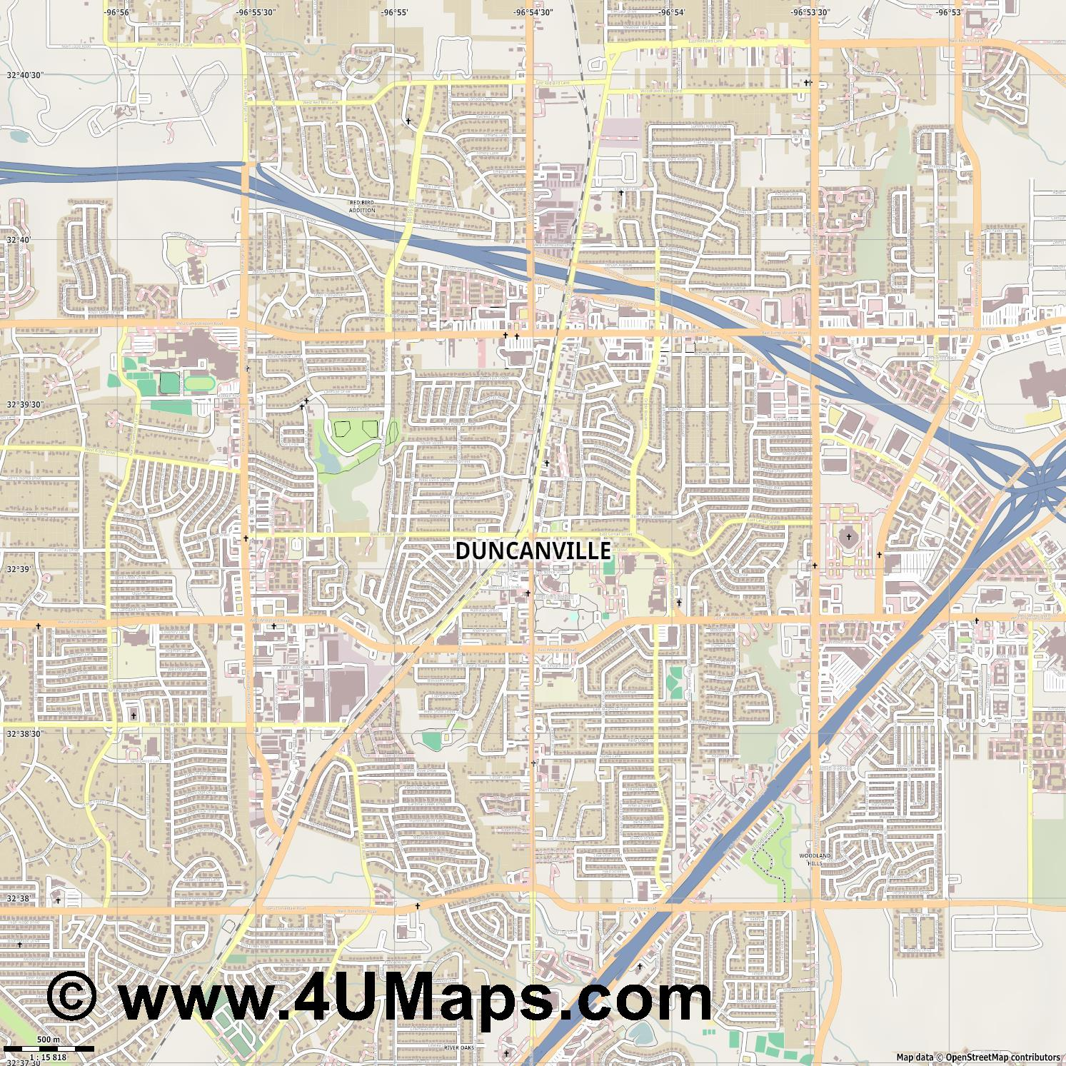 Duncanville  jpg ultra high detail preview vector city map