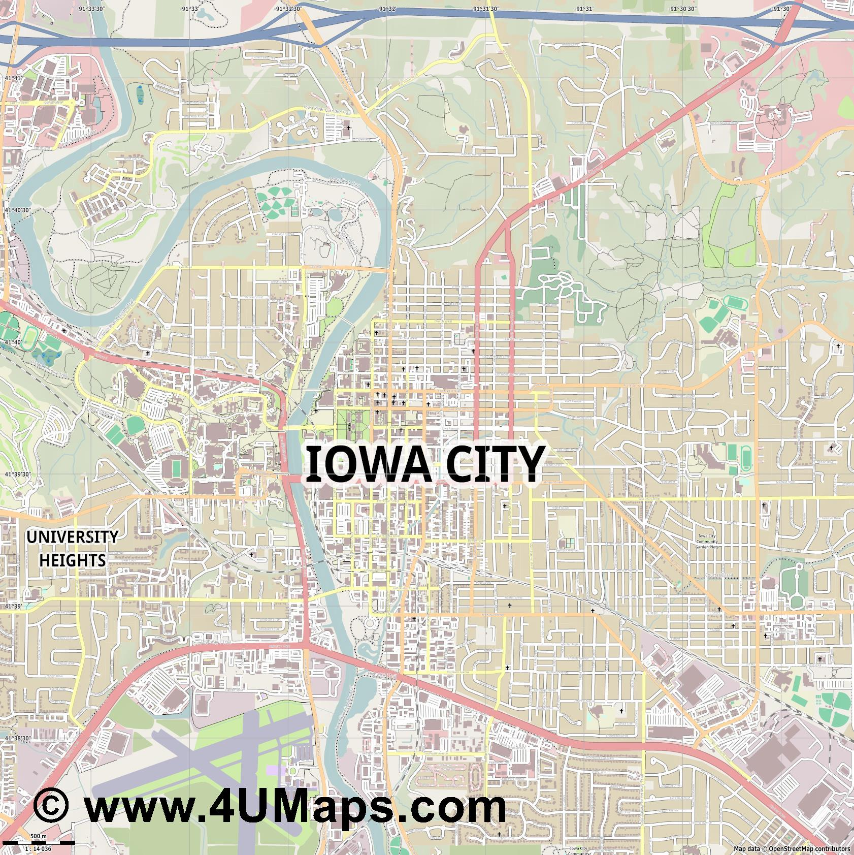 Iowa City  jpg ultra high detail preview vector city map