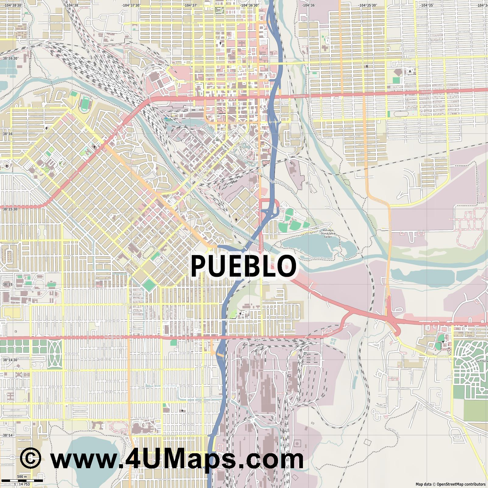 Pueblo  jpg ultra high detail preview vector city map