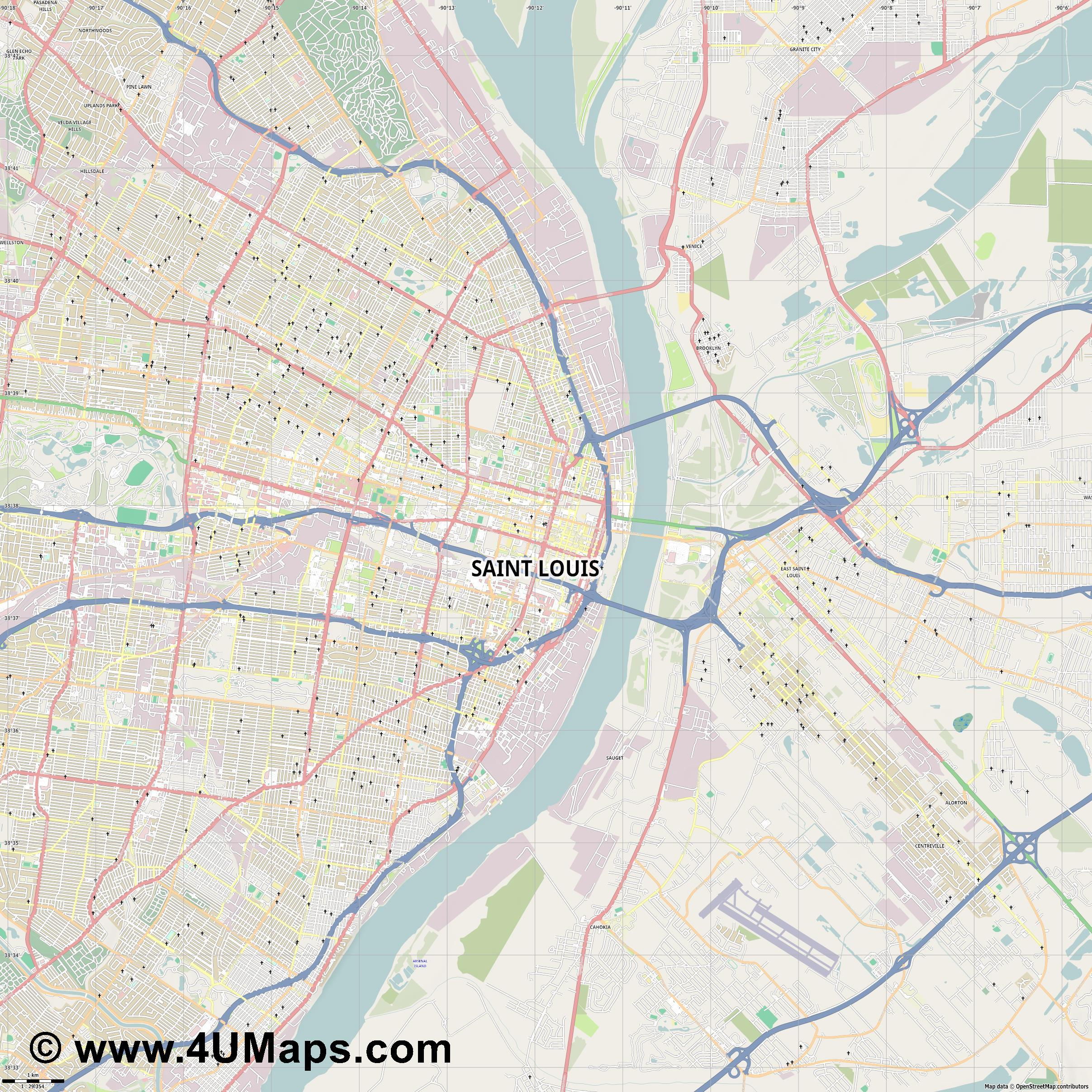 Saint Louis  jpg high detail, large area preview vector city map