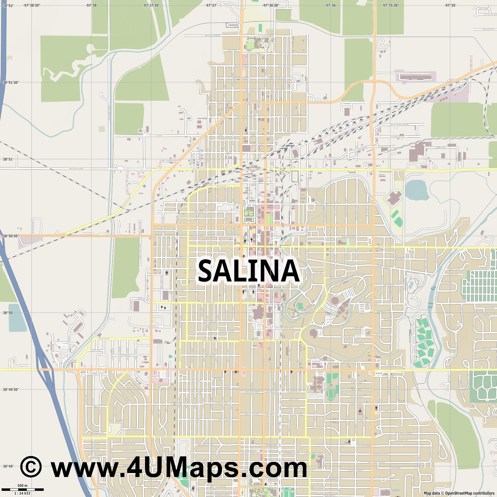Salina  jpg ultra high detail preview vector city map
