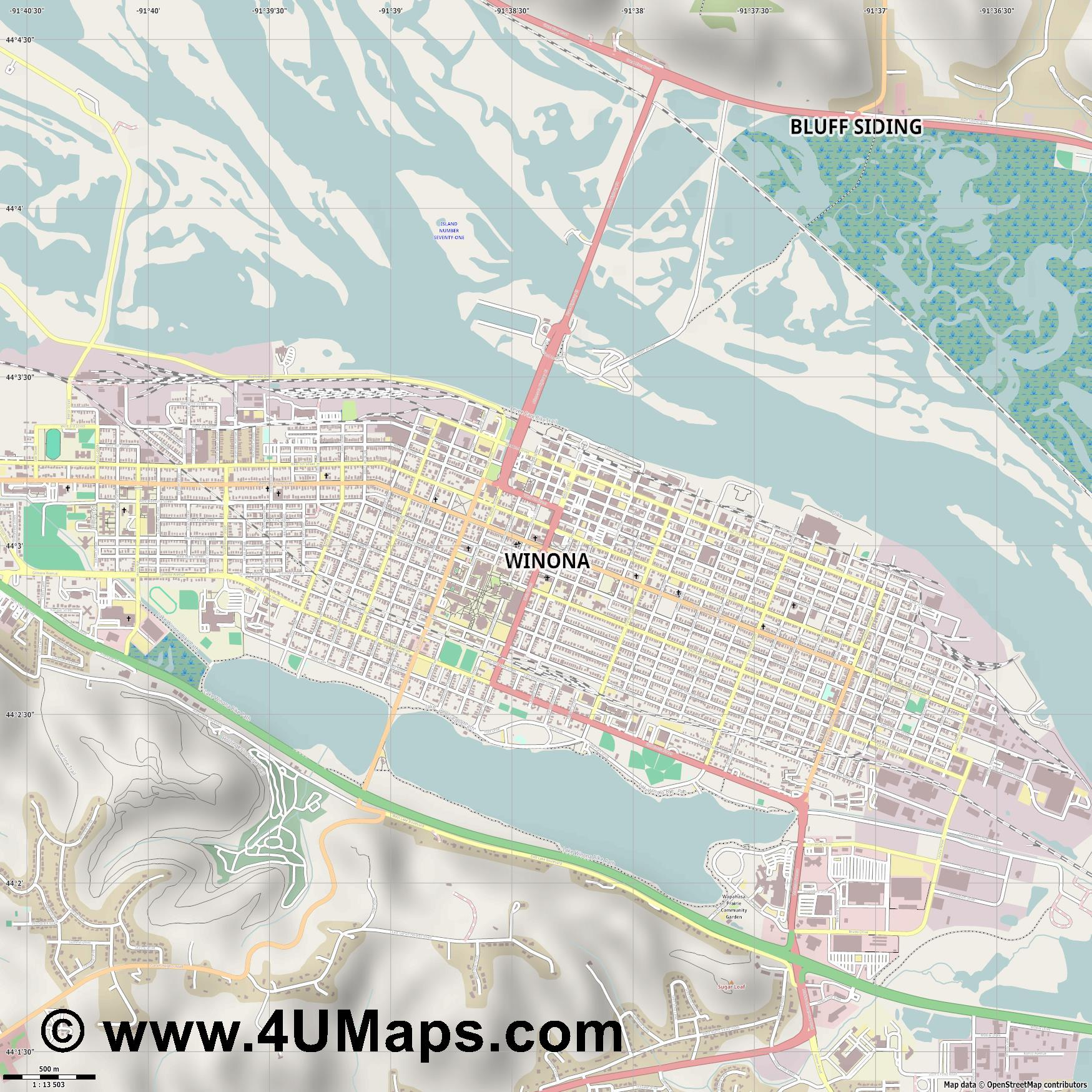 Winona  jpg ultra high detail preview vector city map